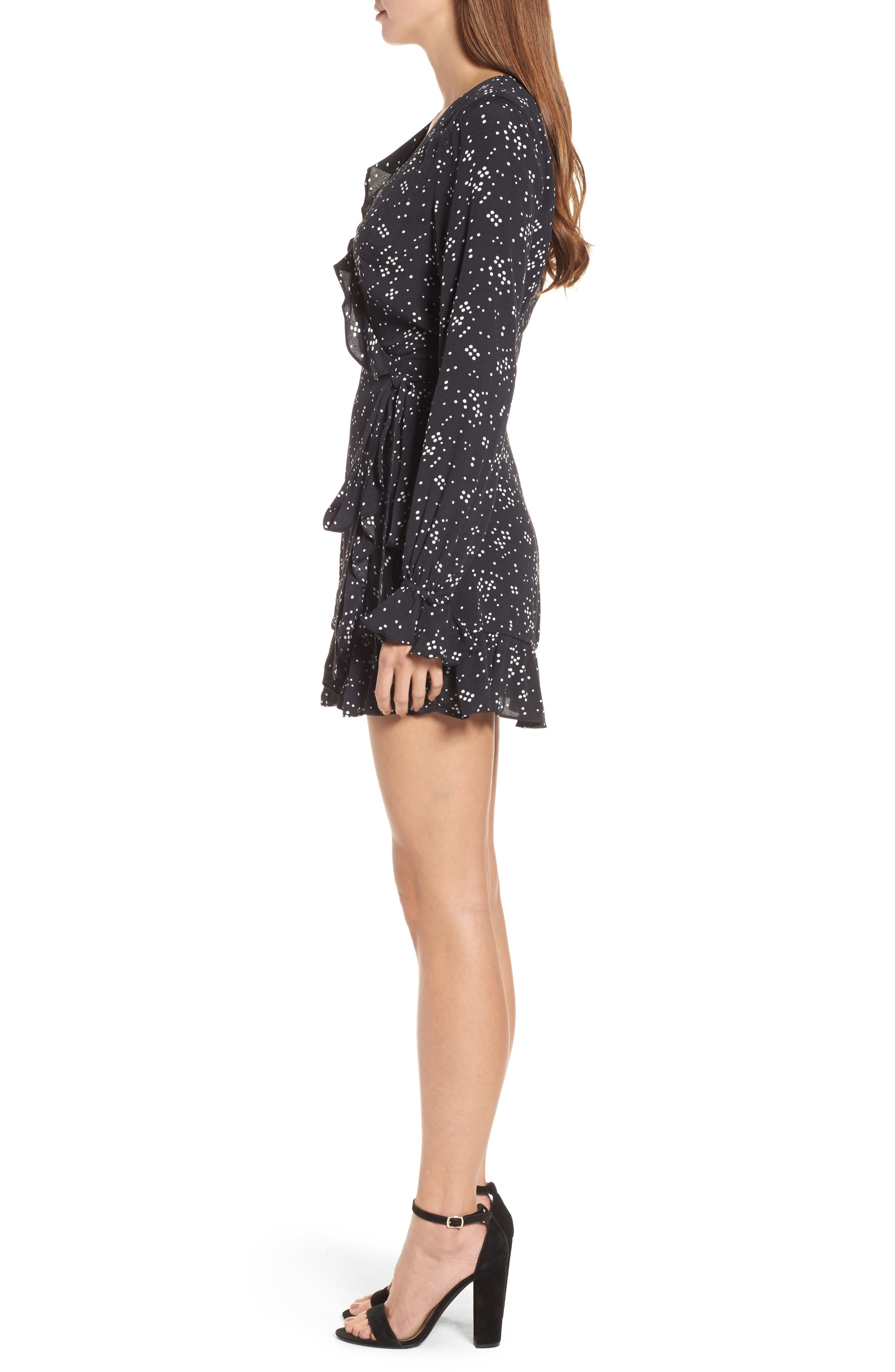 Cane Wrap Minidress,                             Alternate thumbnail 3, color,                             Night Sky Dot