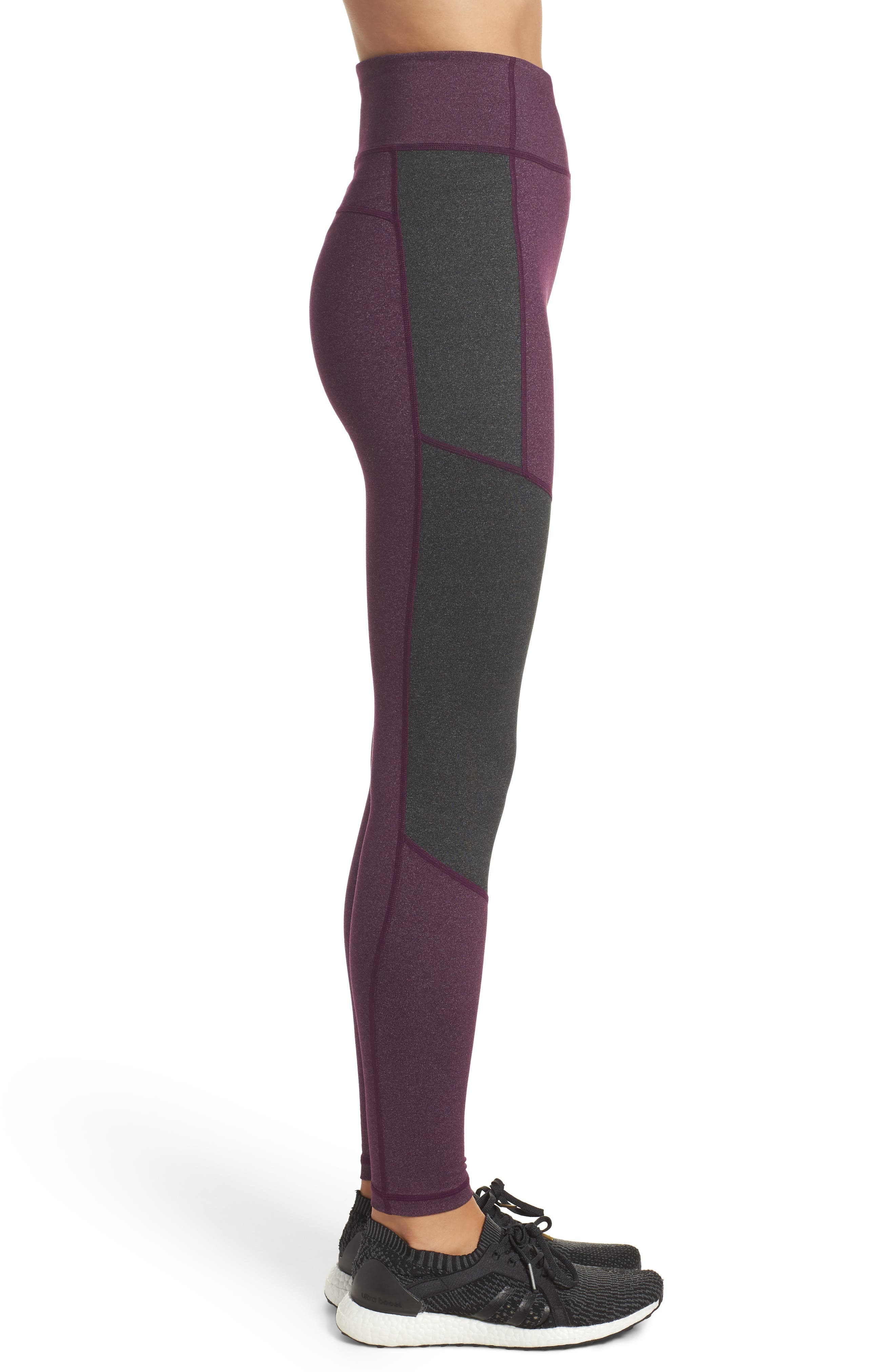 Performer Climalite<sup>®</sup> High Waist Leggings,                             Alternate thumbnail 3, color,                             Red Night/ Energy Ink