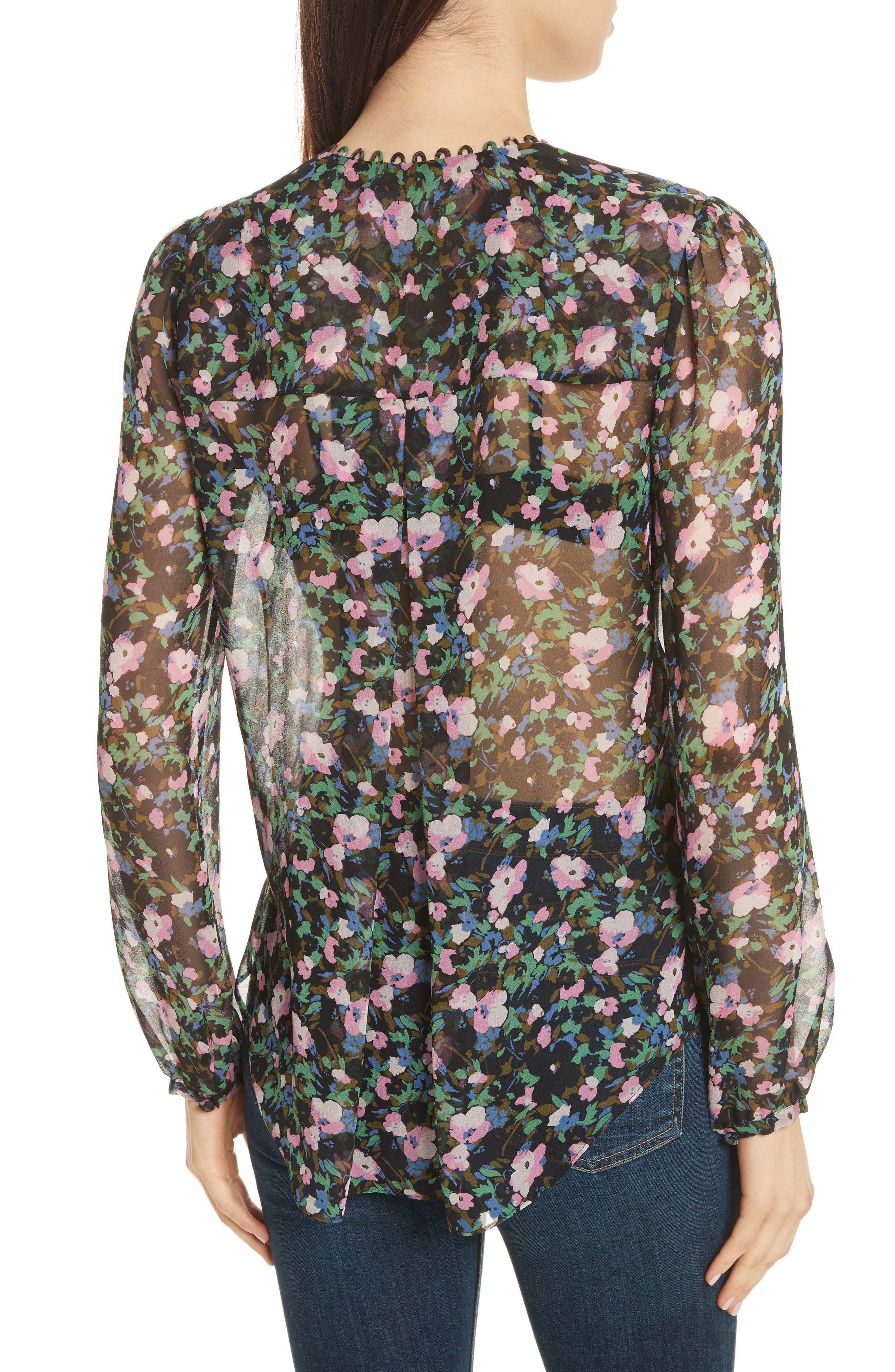 Lowell Floral Silk Blouse,                             Alternate thumbnail 3, color,                             Navy/ Green/ Pink