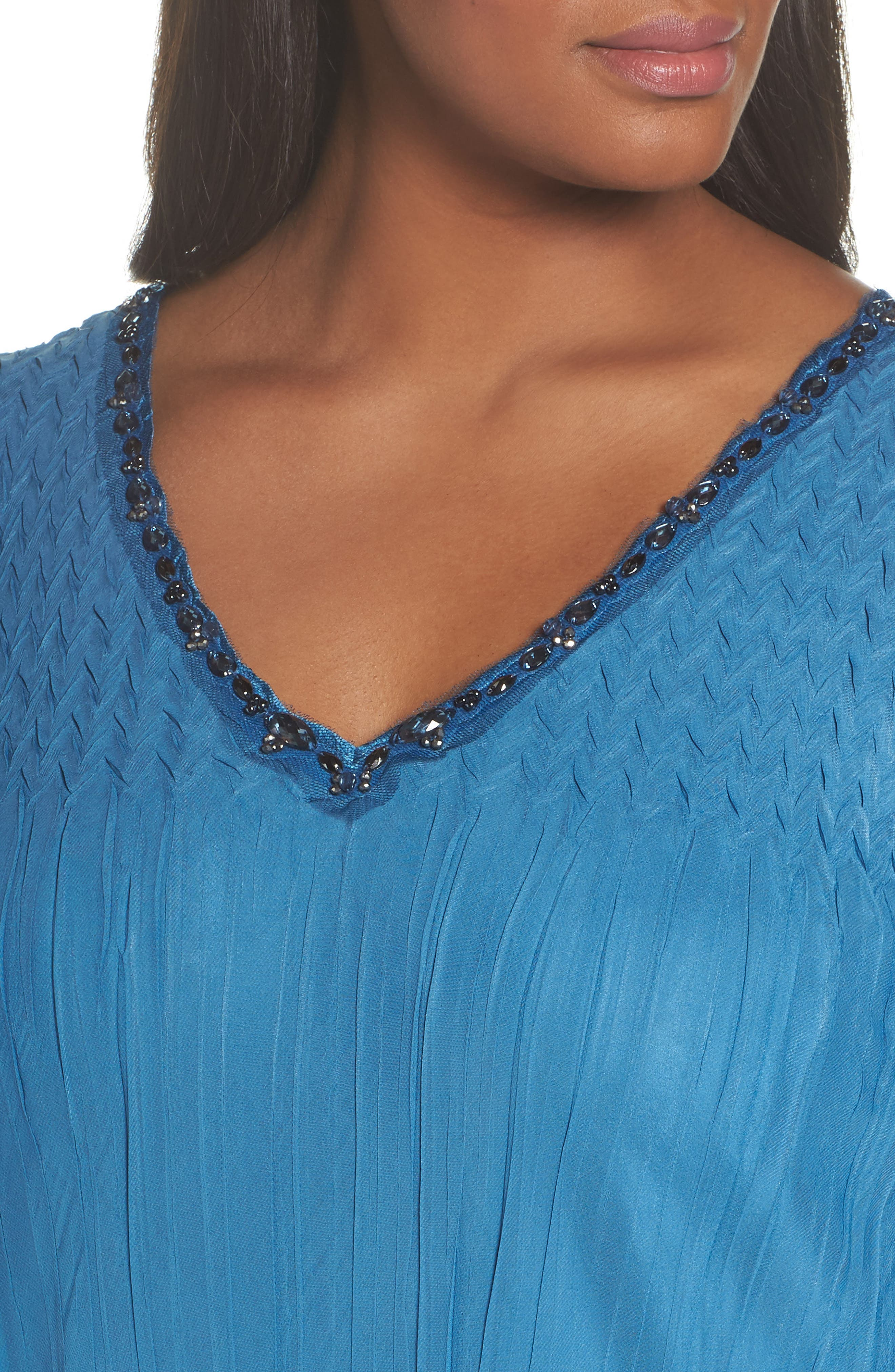 Dress Tiered Chiffon & Charmeuse Dress,                             Alternate thumbnail 4, color,                             Blue Dusk Night Ombre