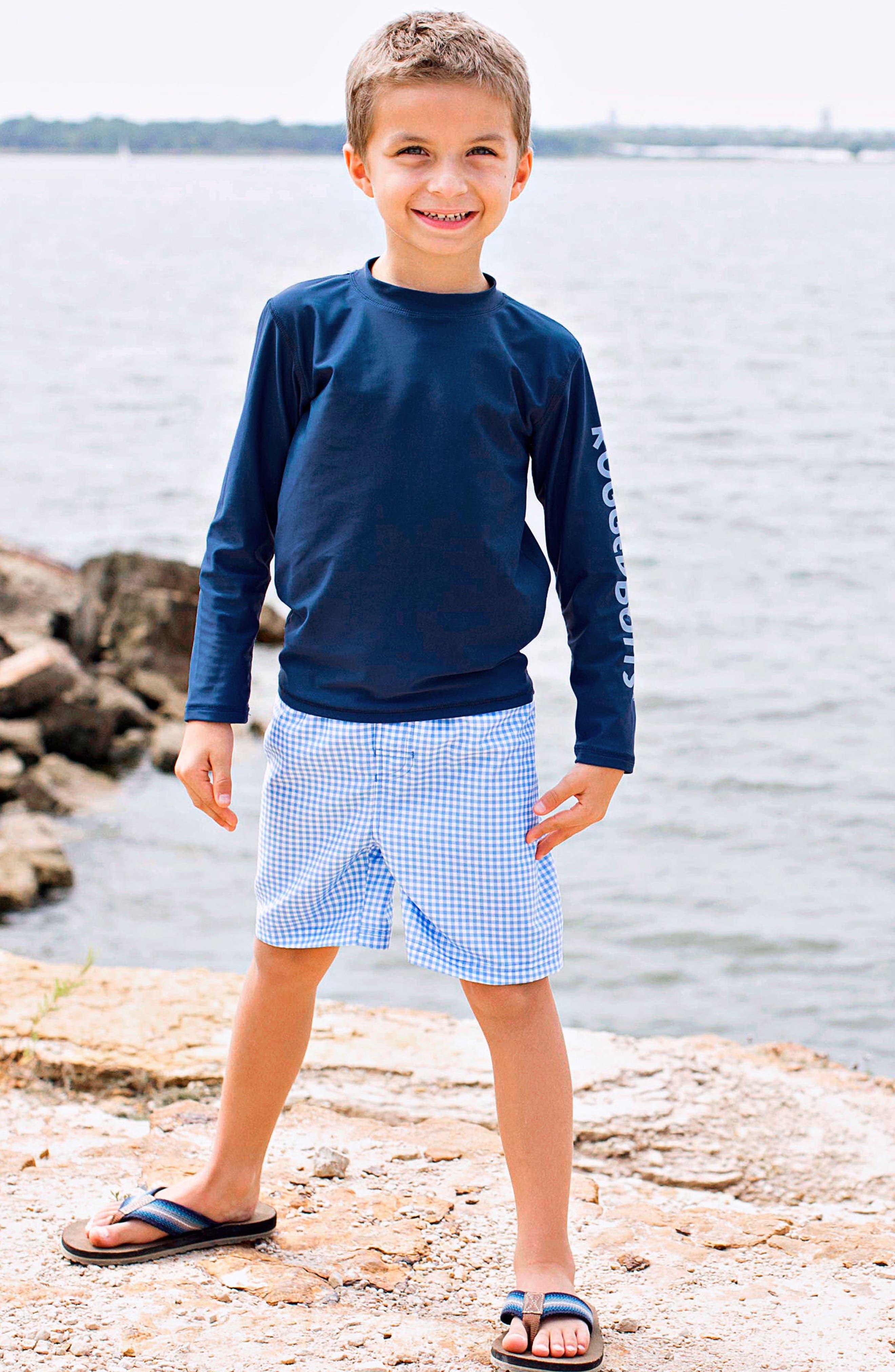 Long Sleeve Rashguard & Gingham Board Shorts Set,                             Alternate thumbnail 2, color,                             Navy