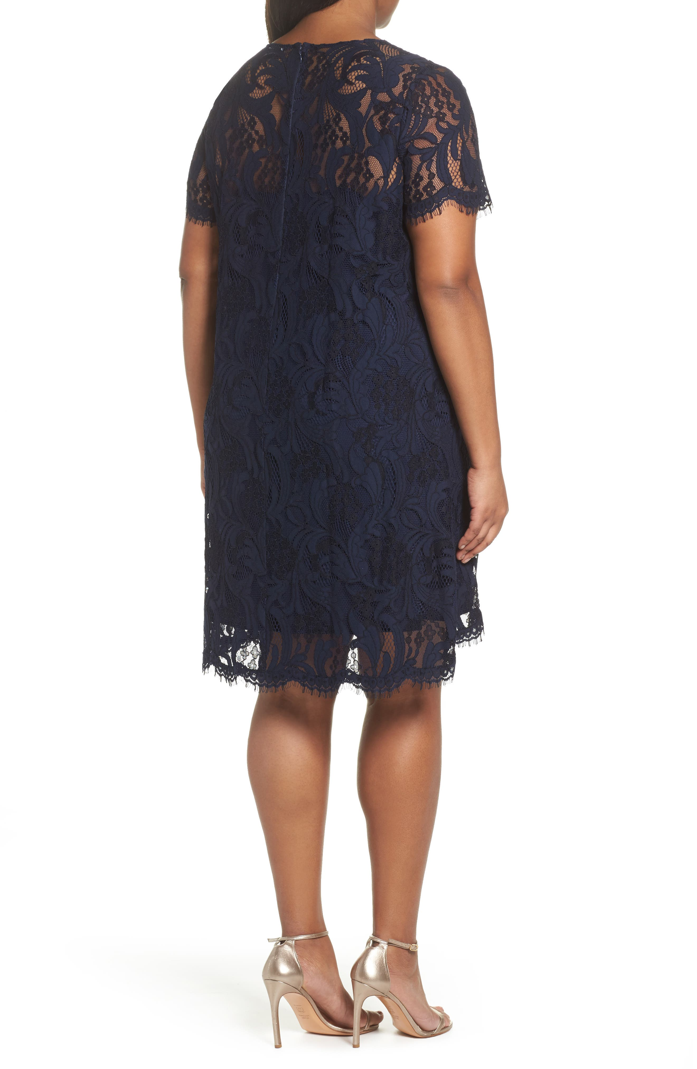 Lace High/Low Dress,                             Alternate thumbnail 2, color,                             Navy