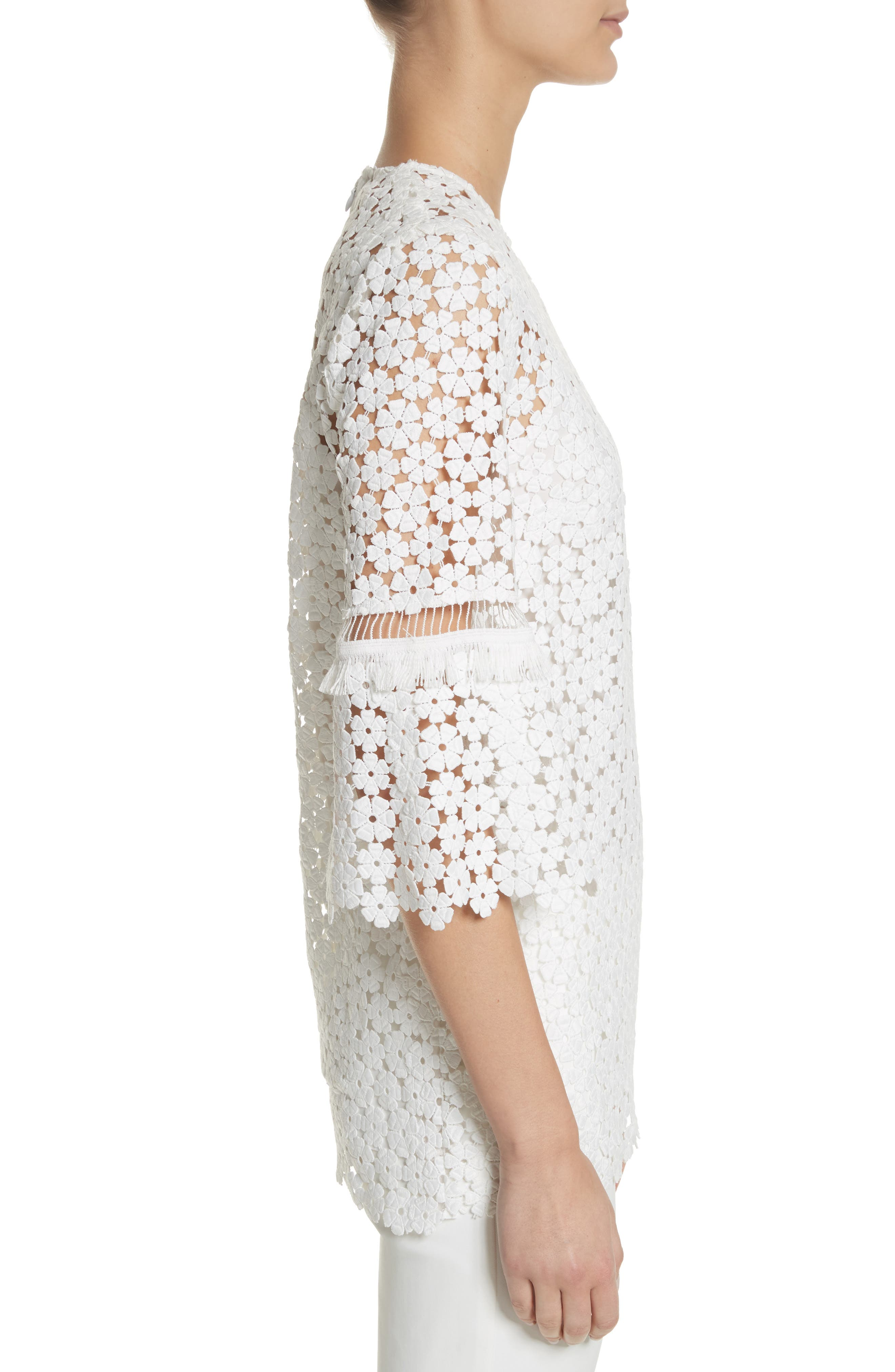 Flare Sleeve Lace Top,                             Alternate thumbnail 3, color,                             White