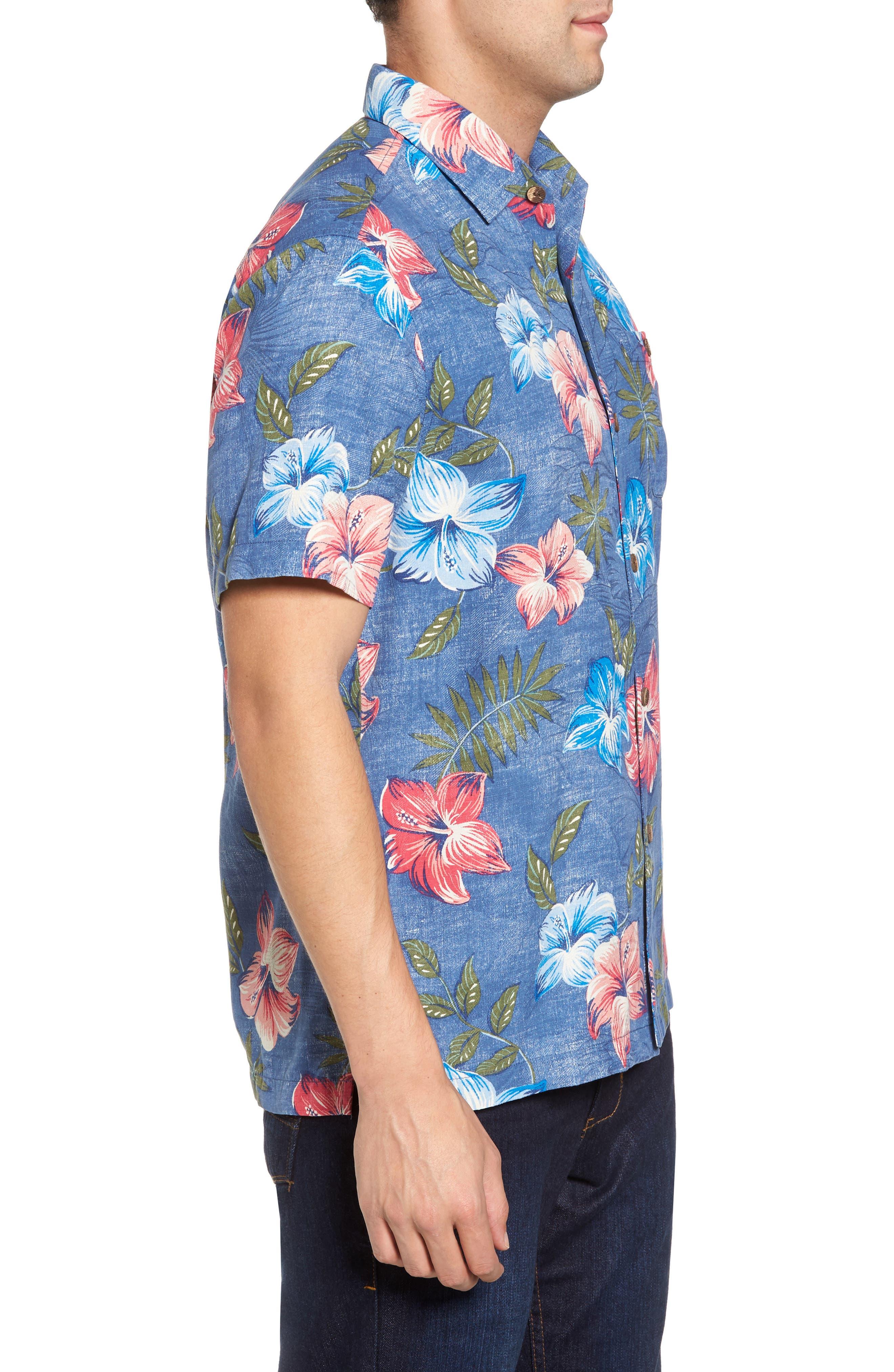 Hibiscus in the Mist Floral Silk Blend Sport Shirt,                             Alternate thumbnail 3, color,                             Dockside Blue