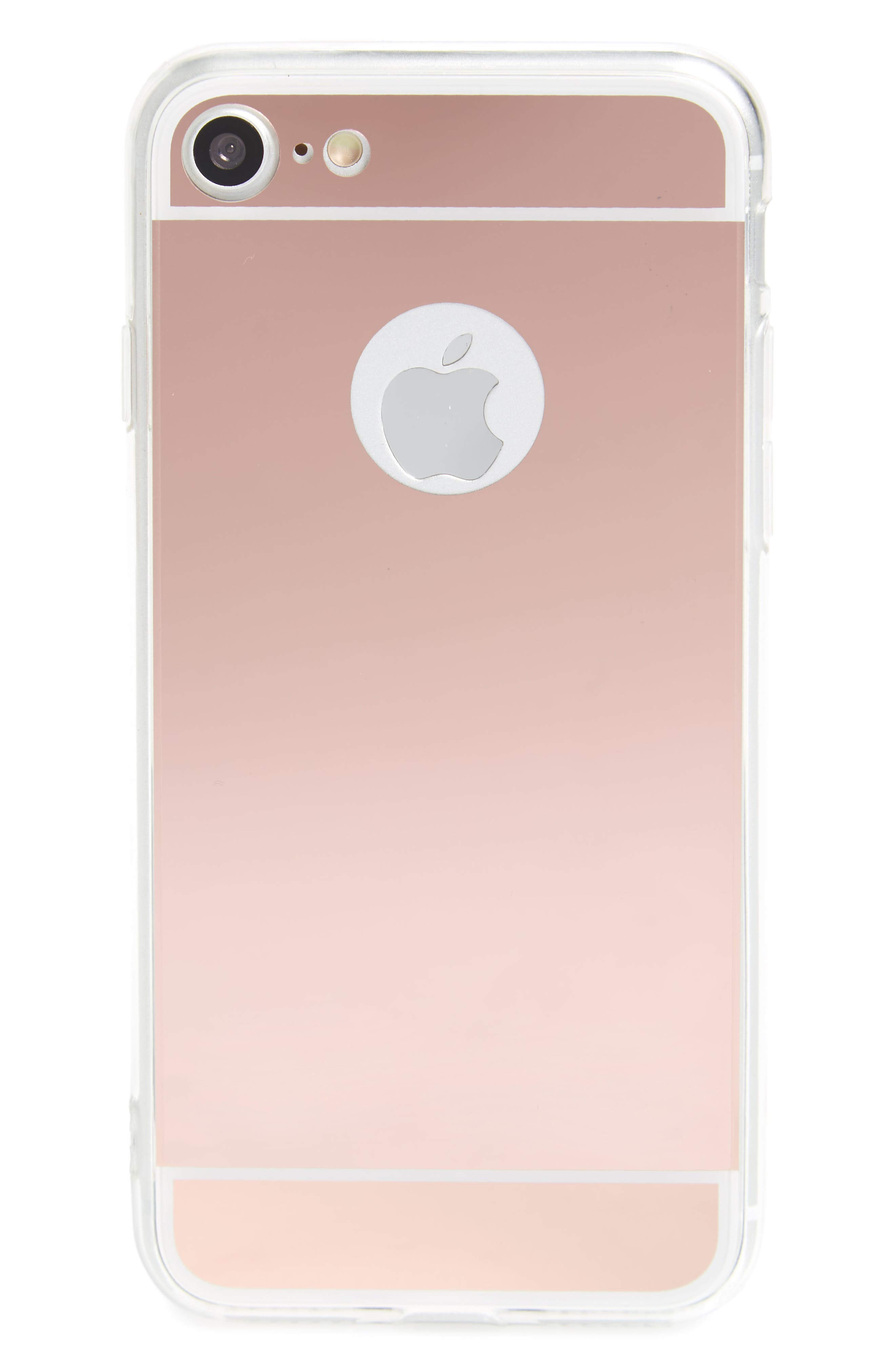 Mirrored iPhone 7 Case,                         Main,                         color, Rose Gold