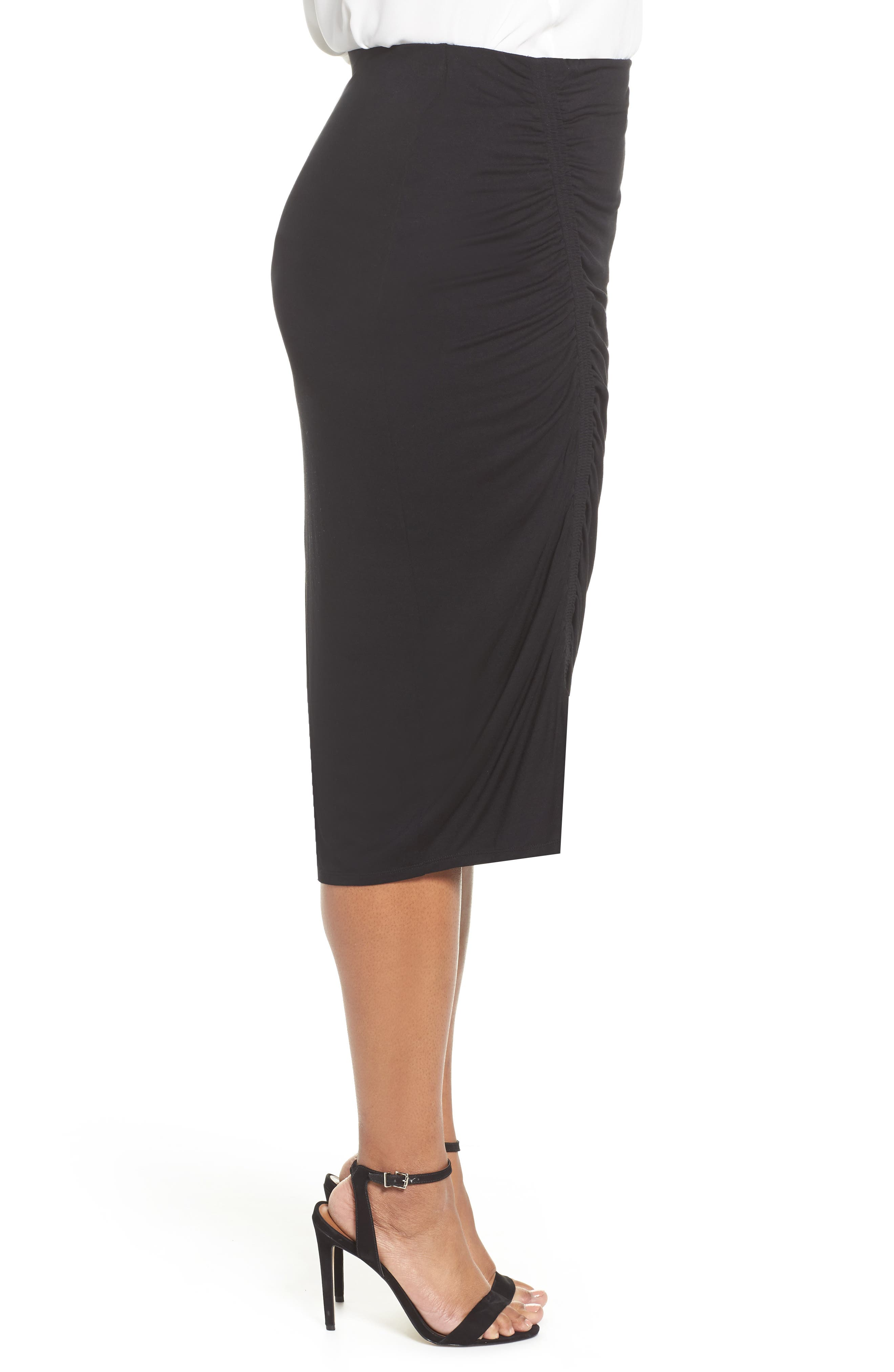 Side Ruched Pencil Skirt,                             Alternate thumbnail 3, color,                             Rich Black