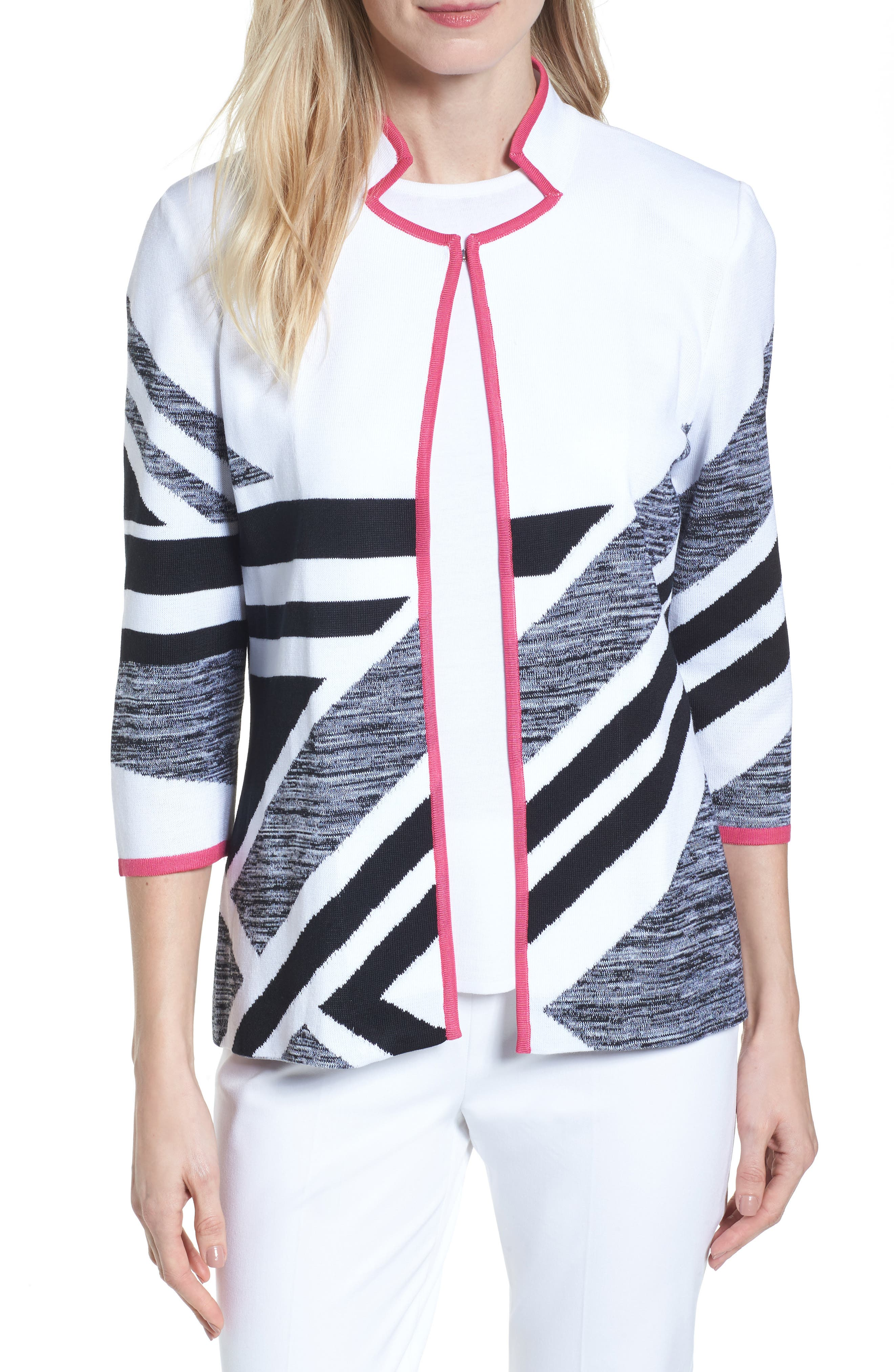 Alternate Image 1 Selected - Ming Wang Geometric Knit Jacket