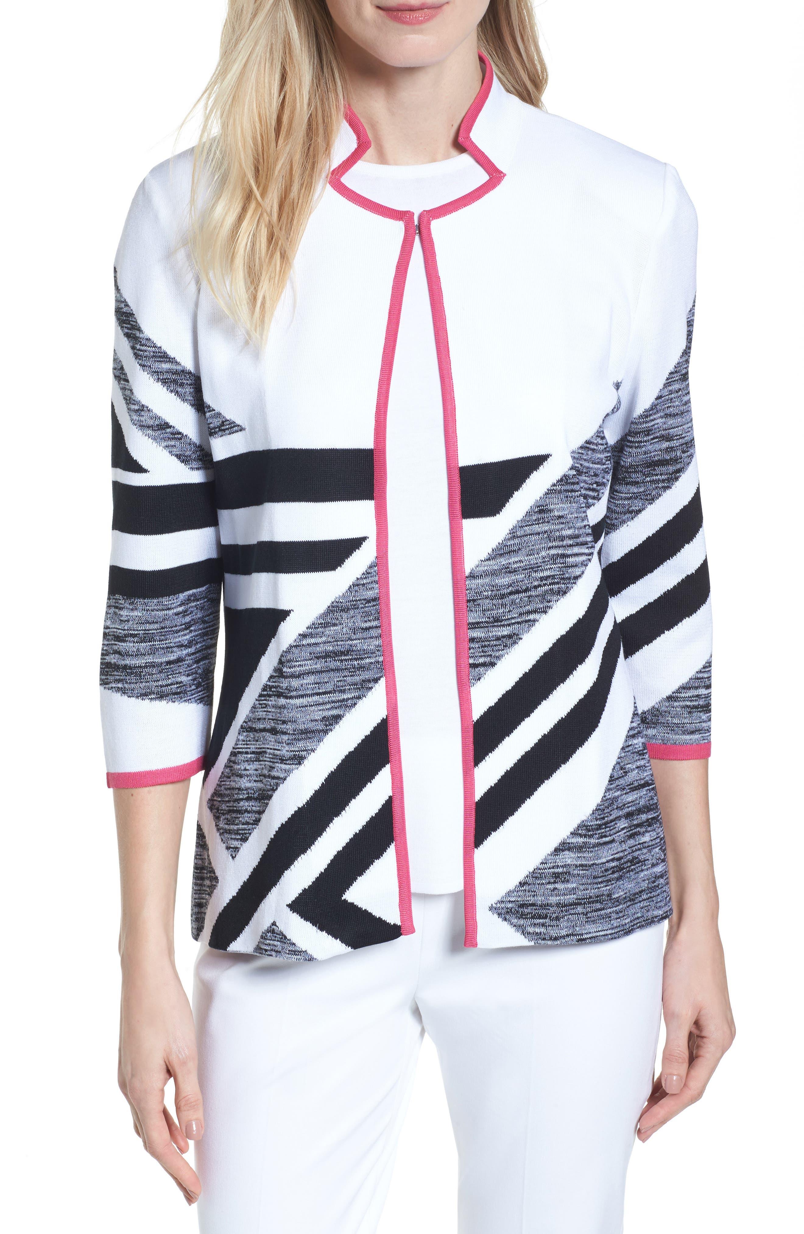 Geometric Knit Jacket,                         Main,                         color, White/ Black/ Dahlia