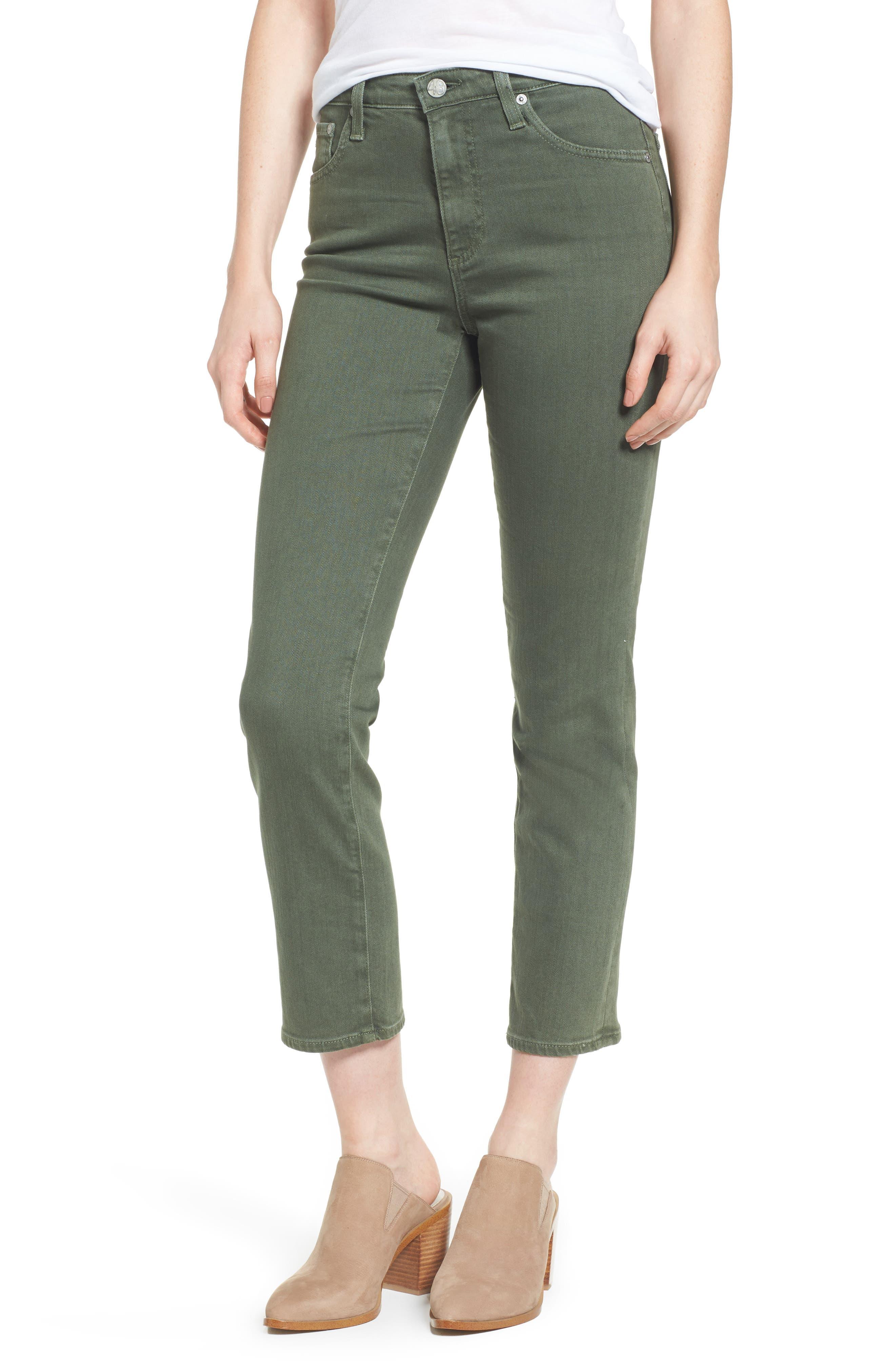 The Isabelle High Waist Crop Straight Leg Jeans,                         Main,                         color, 1 Year Sulfur Desert Pine