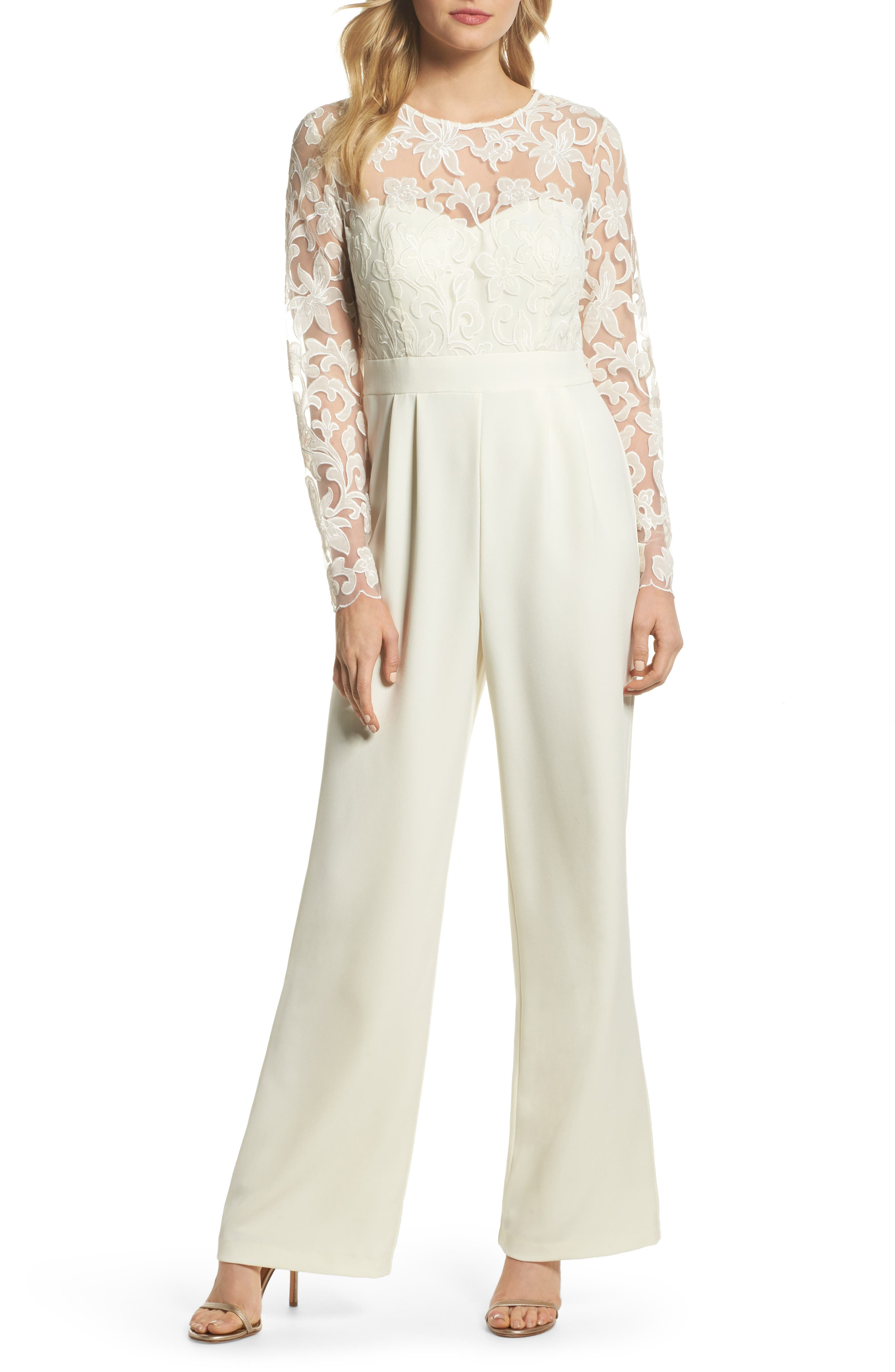 Embroidered Bodice Wide Leg Jumpsuit,                         Main,                         color, Ivory