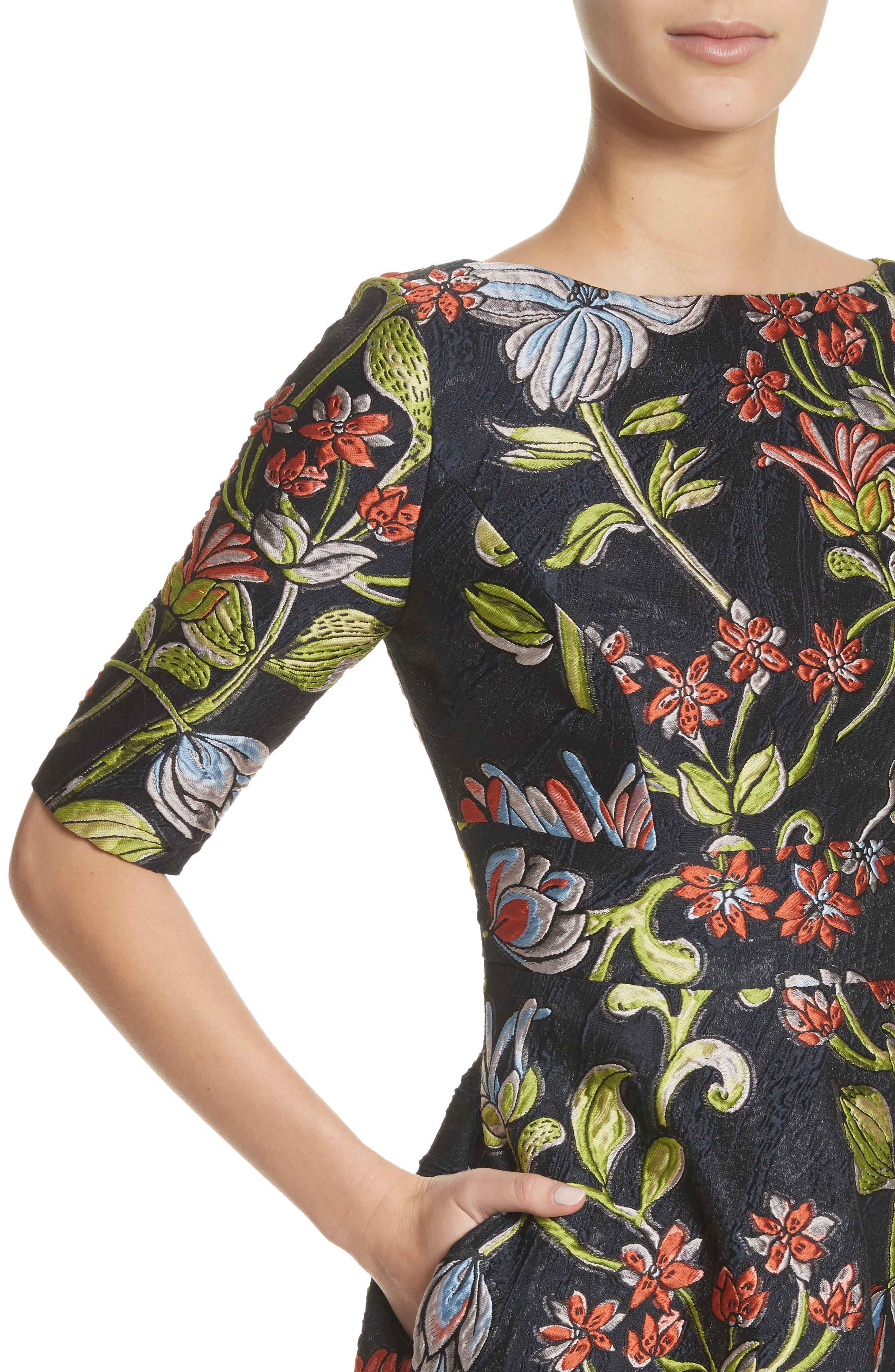 Floral Matelassé A-Line Dress,                             Alternate thumbnail 4, color,                             Navy Multi