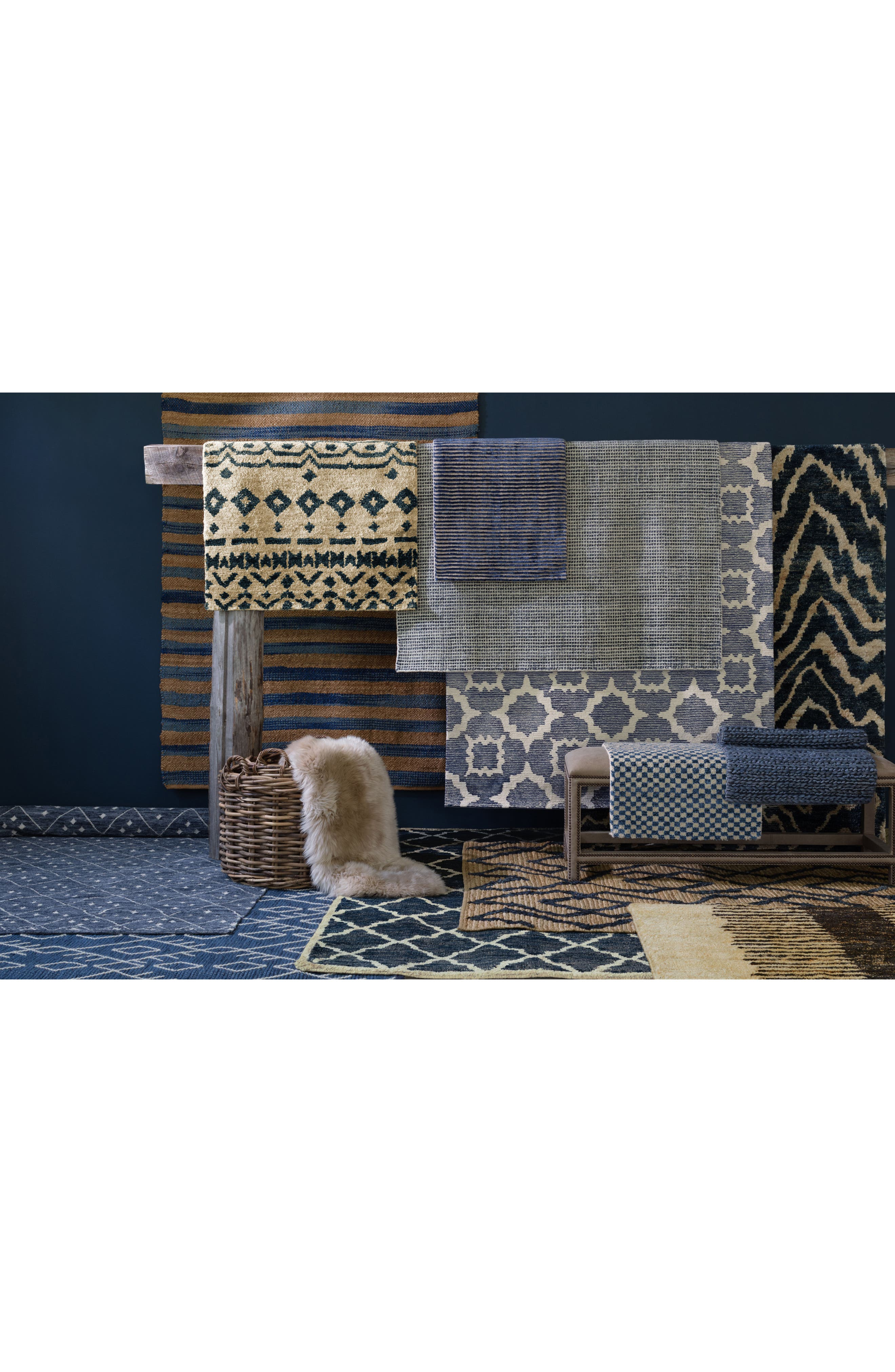 Stripe Hand Knotted Rug,                             Alternate thumbnail 2, color,                             Indigo