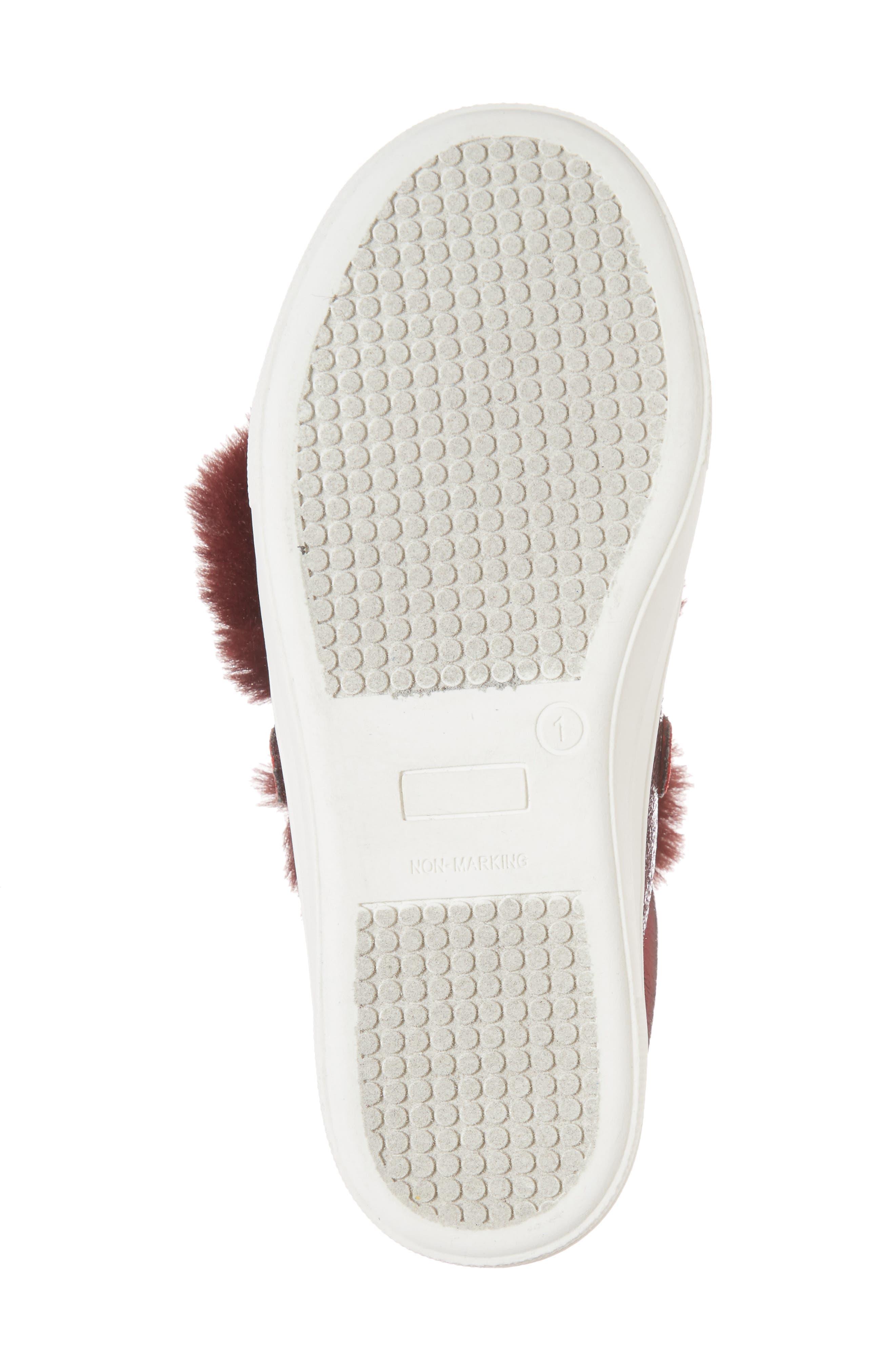 Zandra Faux Fur Metallic Sneaker,                             Alternate thumbnail 6, color,                             Burgundy Faux Leather
