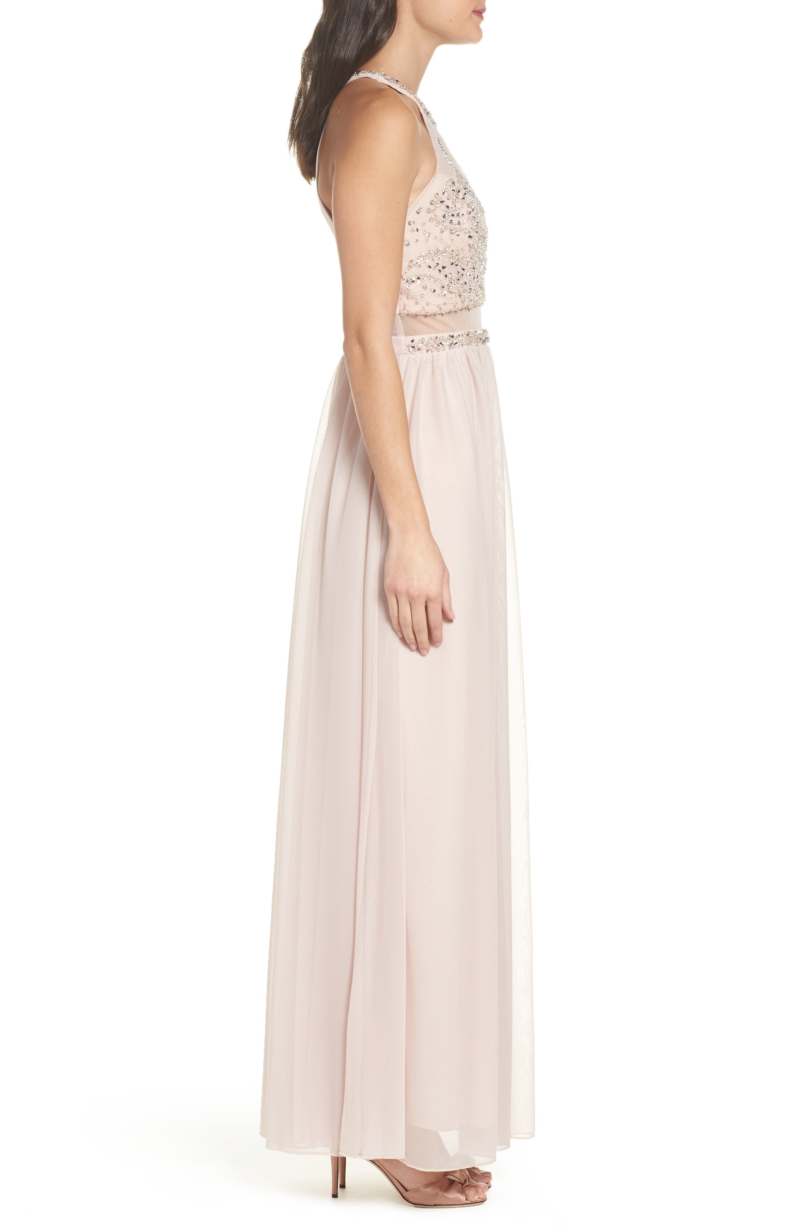 Beaded Jersey Halter Gown,                             Alternate thumbnail 3, color,                             Buff