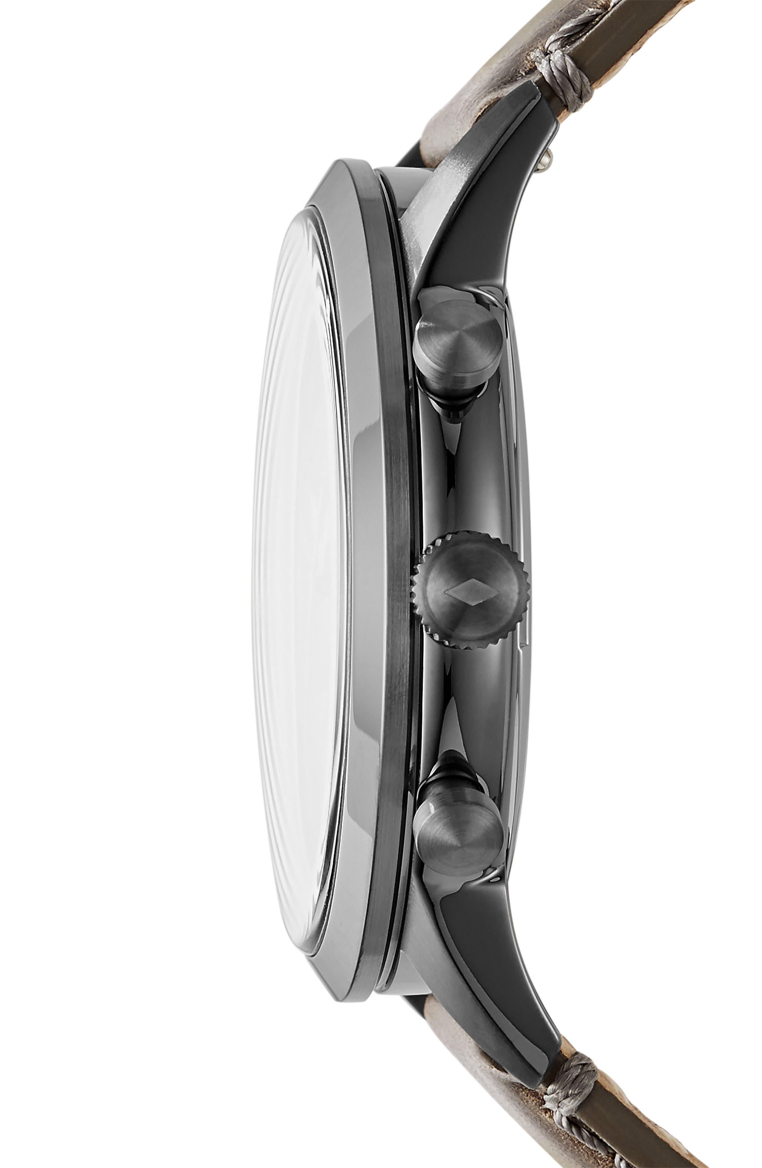 Townsmen Chronograph Leather Strap Watch, 44mm,                             Alternate thumbnail 2, color,                             Grey/ Gunmetal