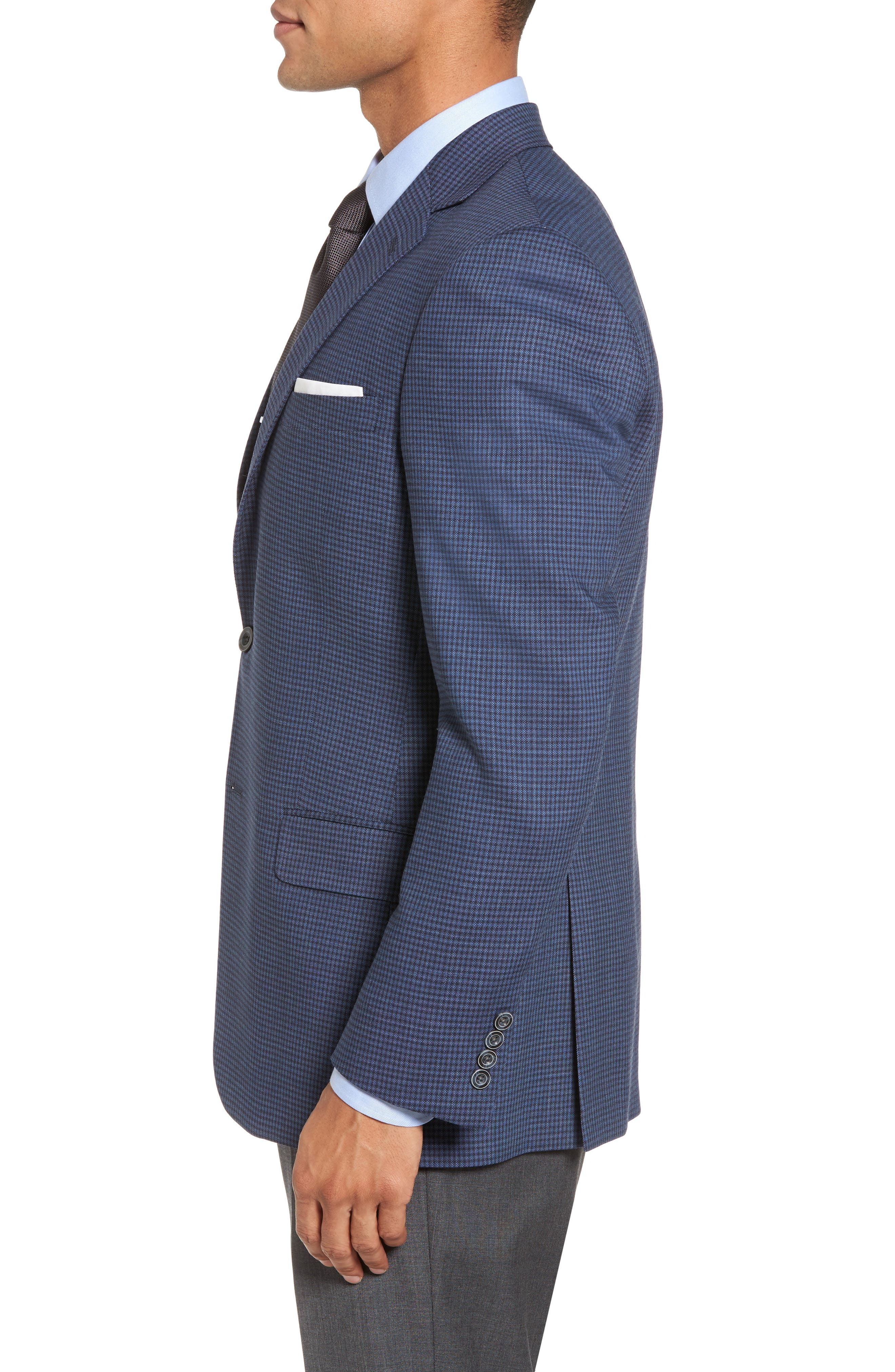 Classic Fit Stretch Check Wool Sport Coat,                             Alternate thumbnail 3, color,                             Navy