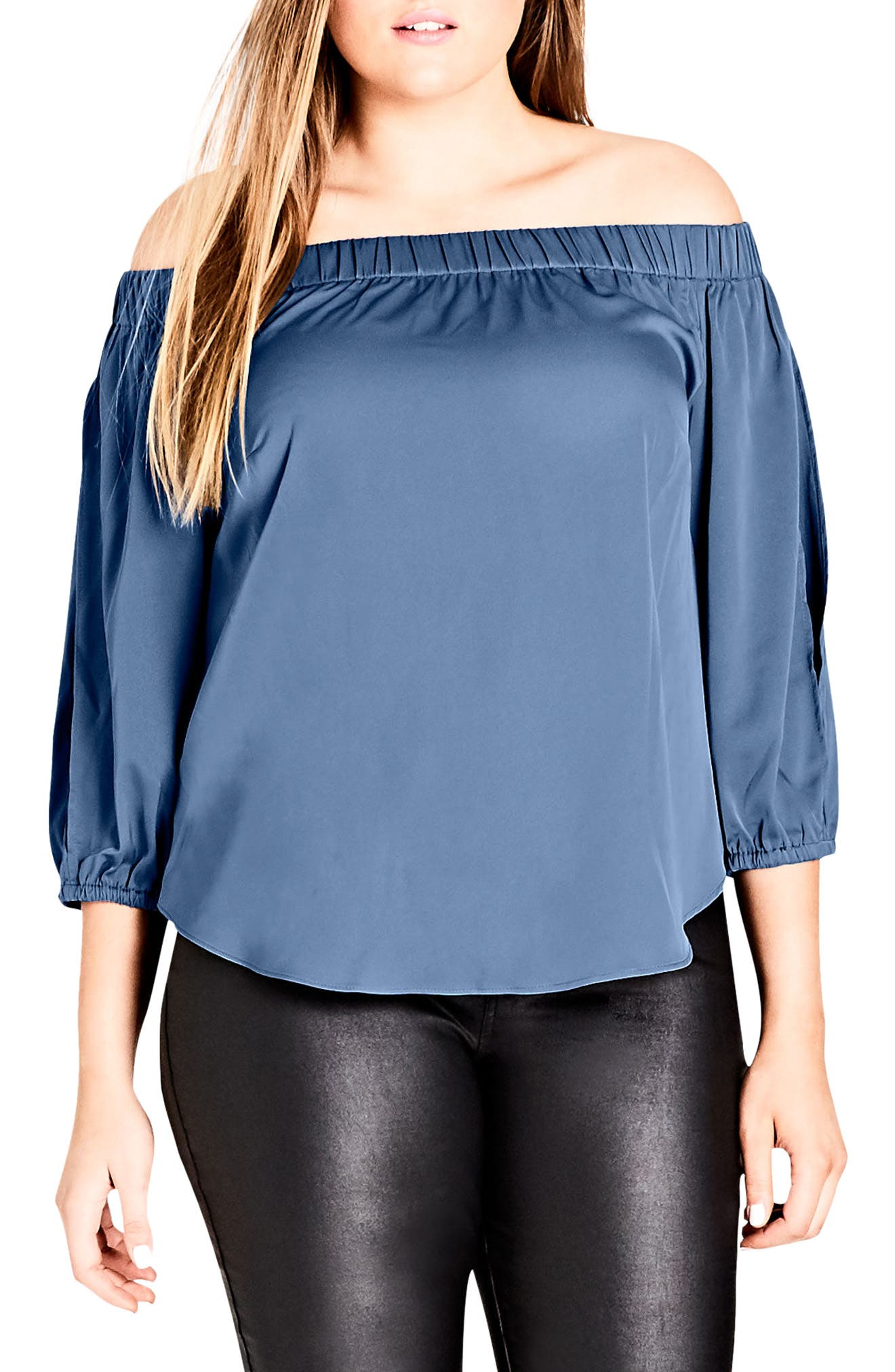 Alternate Image 1 Selected - City Chic Off the Shoulder Satin Top (Plus Size)