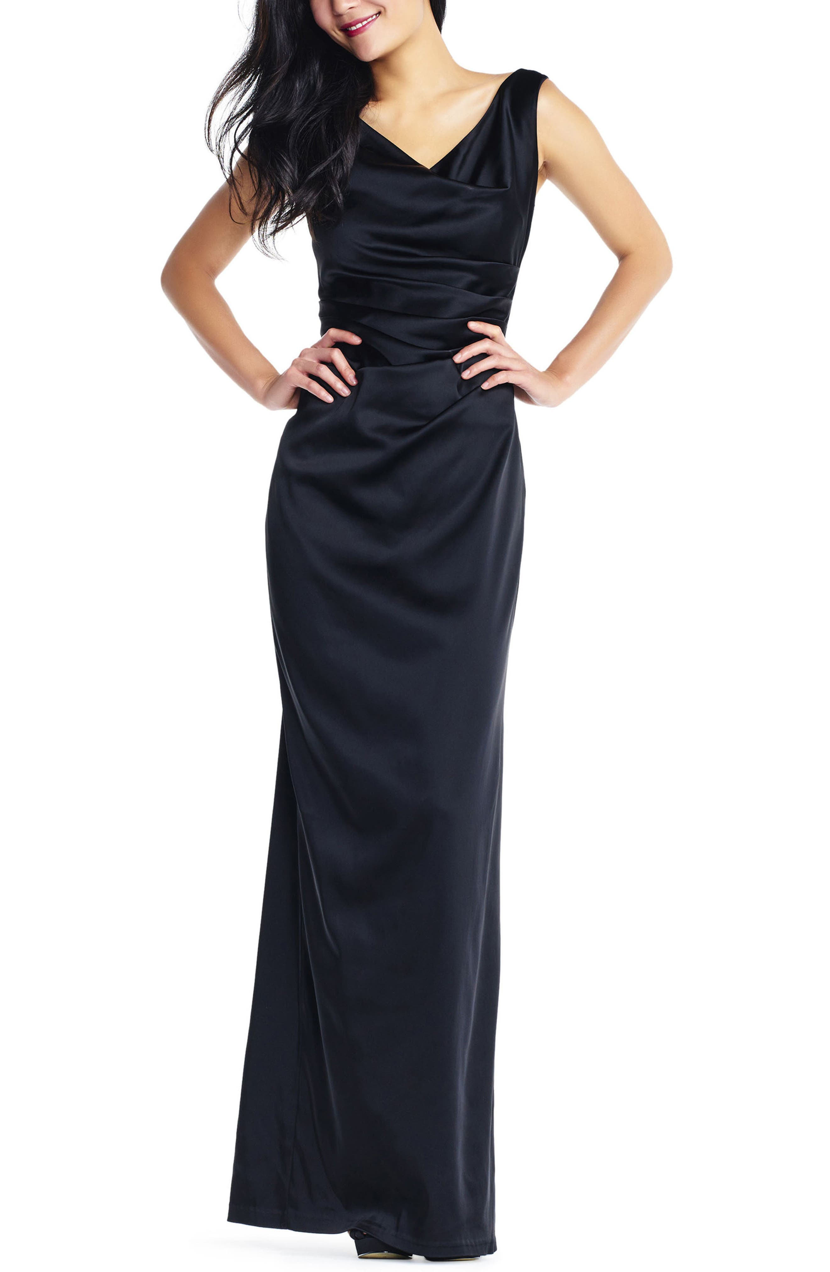Stretch Satin Gown,                         Main,                         color, Black