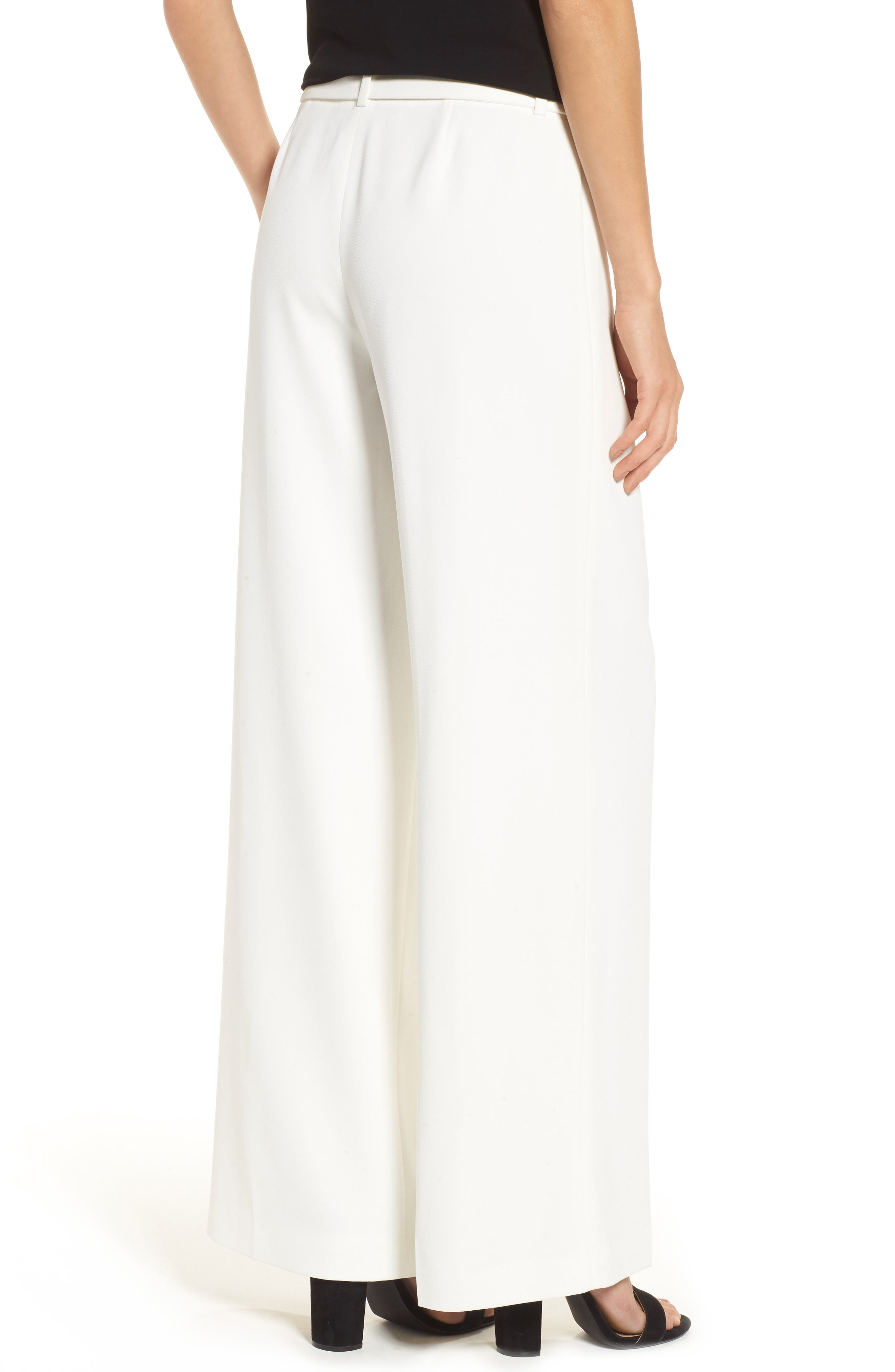 Tie Front Wide Leg Pants,                             Alternate thumbnail 3, color,                             New Ivory