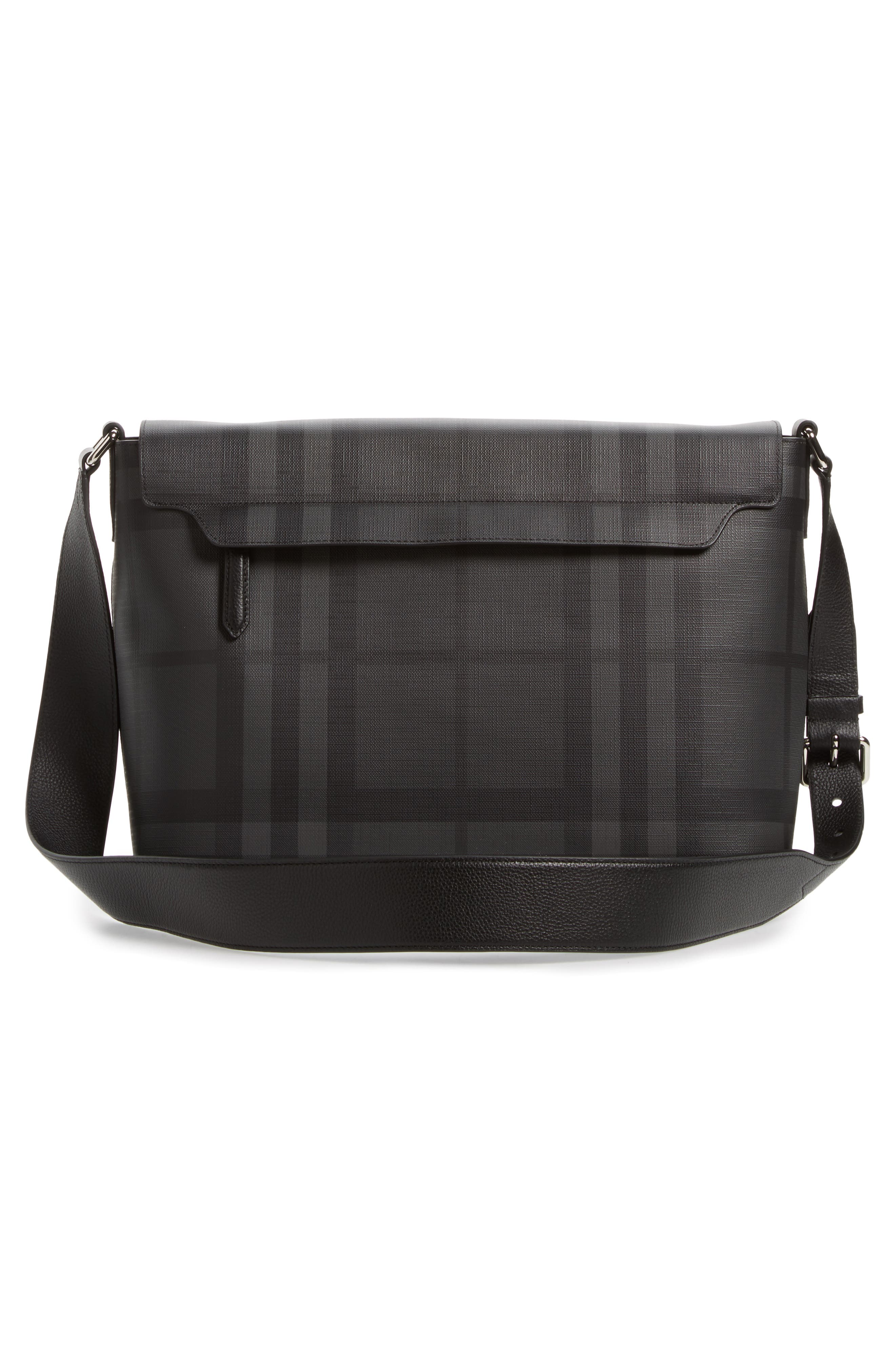London Check Messenger Bag,                             Alternate thumbnail 3, color,                             Charcoal/ Black