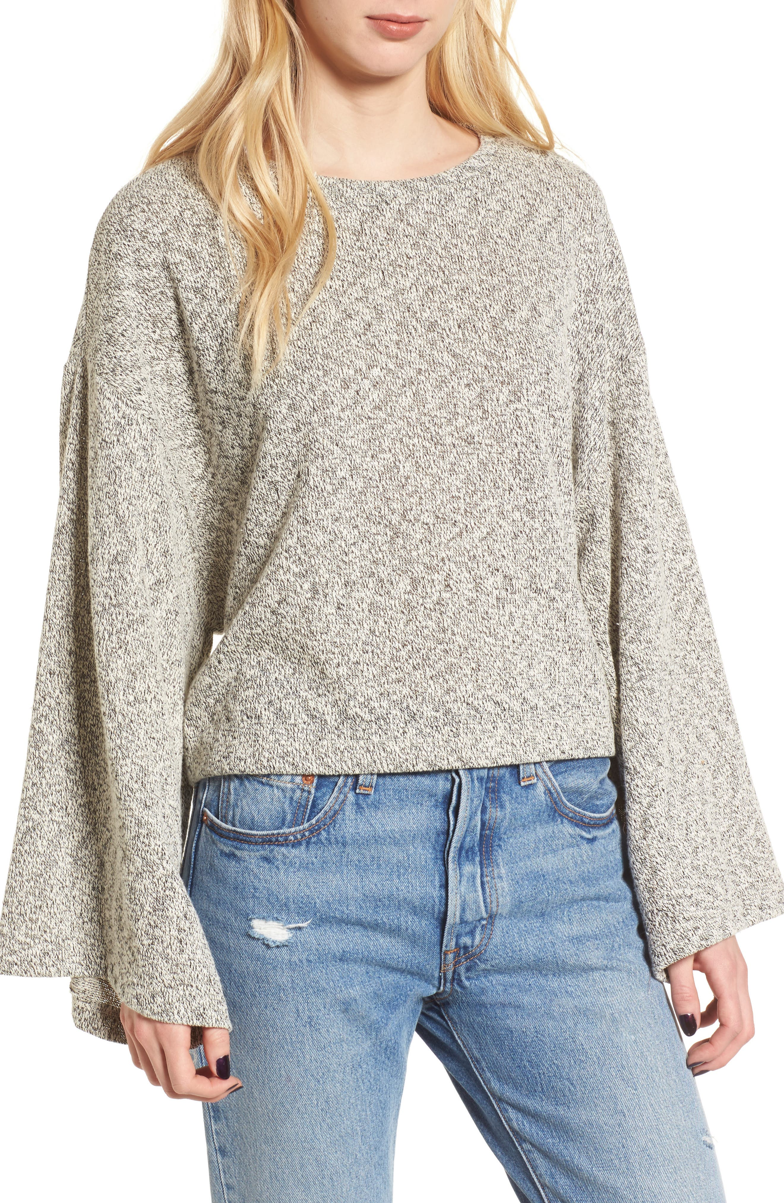 Marled Bell Sleeve Sweater,                         Main,                         color, Grey