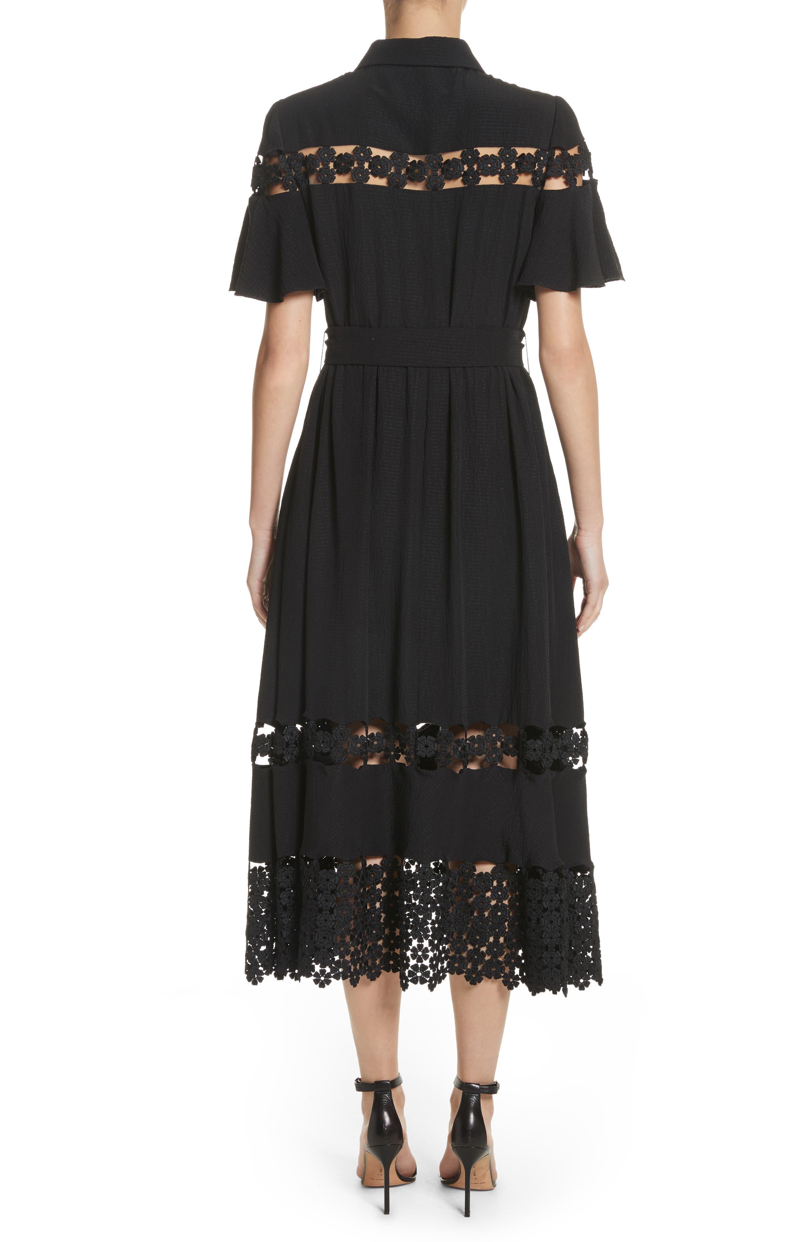 Lace Inset Flutter Sleeve Shirtdress,                             Alternate thumbnail 2, color,                             Black