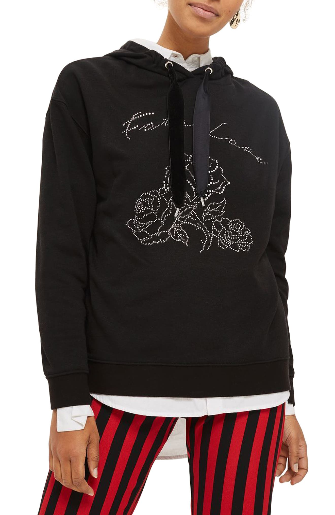 Fatal Love Embellished Hoodie,                         Main,                         color, Black