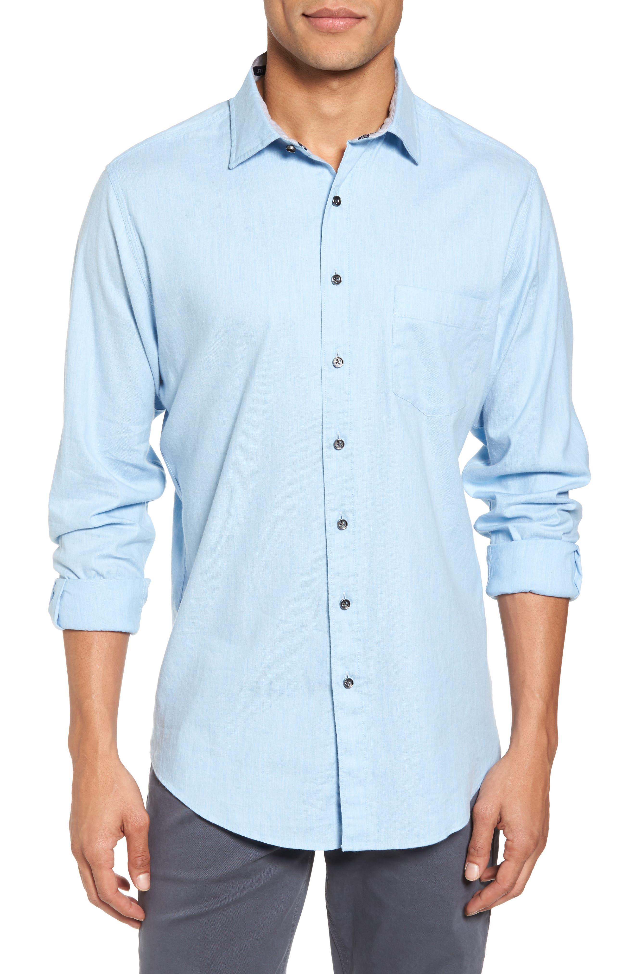 'Sinclair' Trim Fit Brushed Twill Sport Shirt,                         Main,                         color, Stonewash