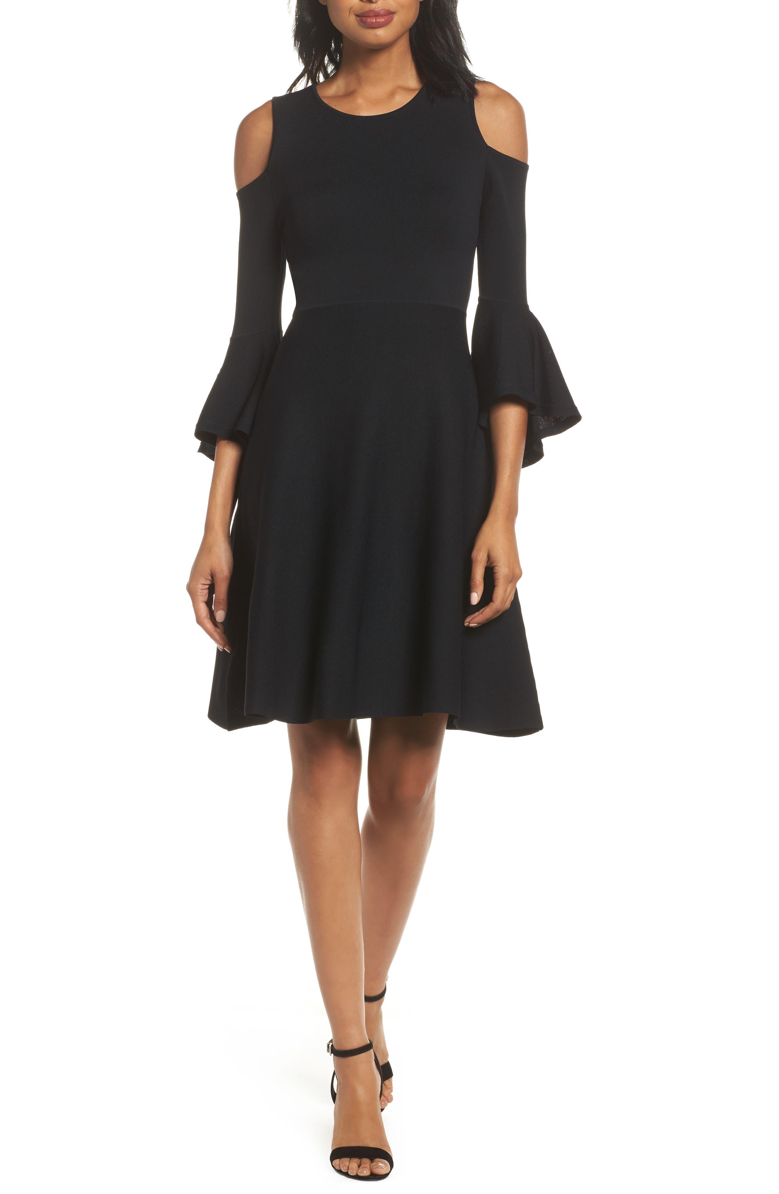 Cold Shoulder Fit & Flare Dress,                             Main thumbnail 1, color,                             Black