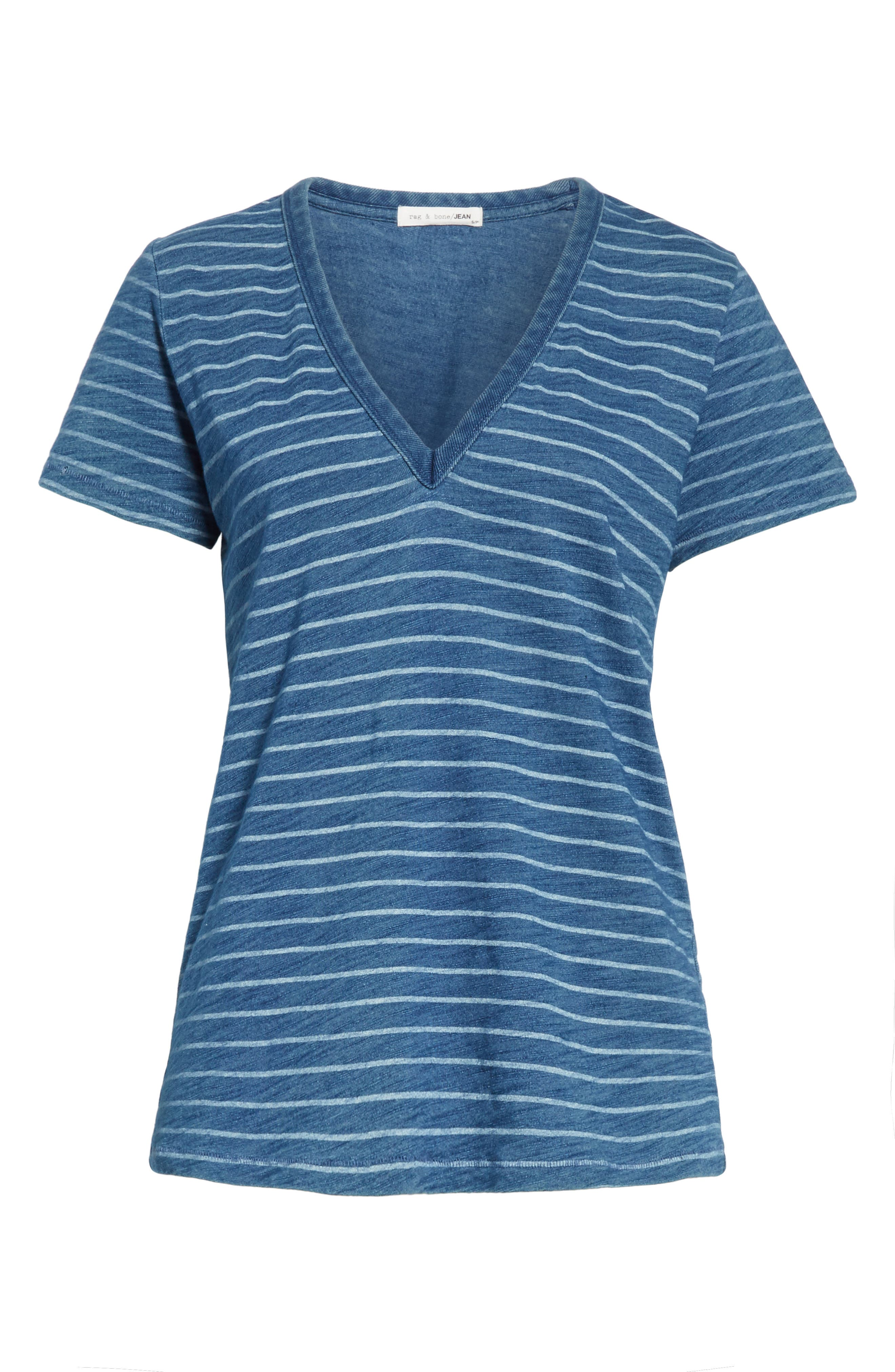 The Vee Indigo Bleach Stripe Tee,                             Alternate thumbnail 6, color,                             Indigo Stripe