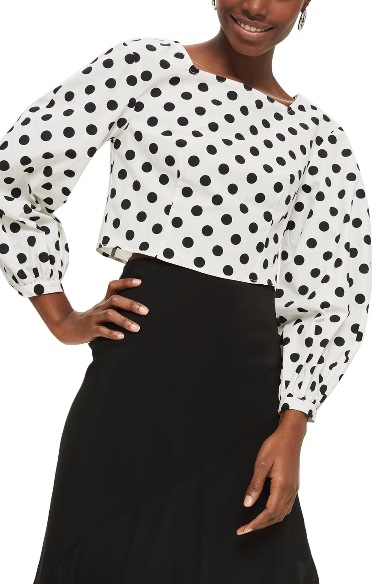 Polka Dot Balloon Sleeve Crop Top,                         Main,                         color, White Multi