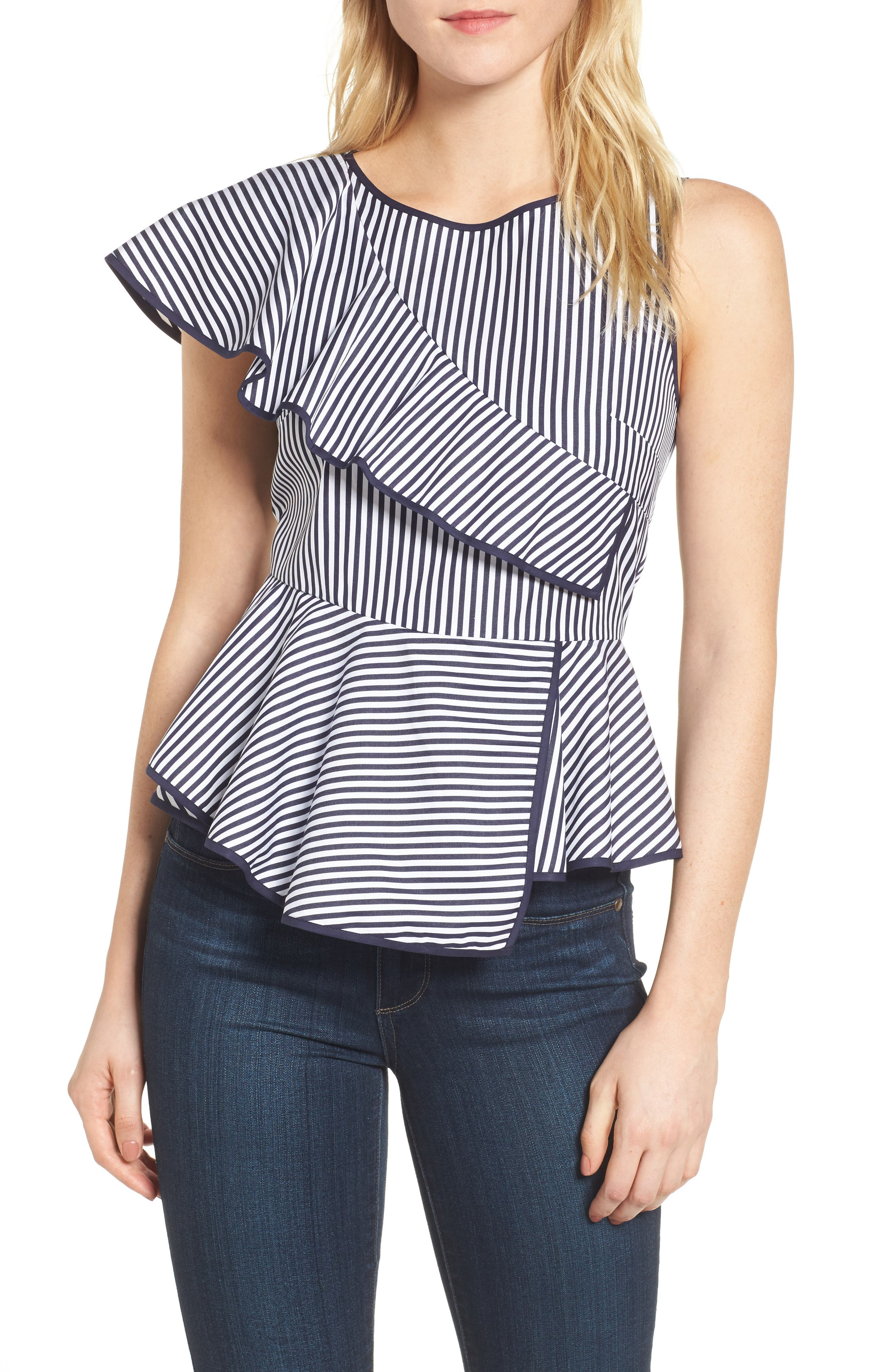 Carly Ruffle Top,                         Main,                         color, Navy/ White