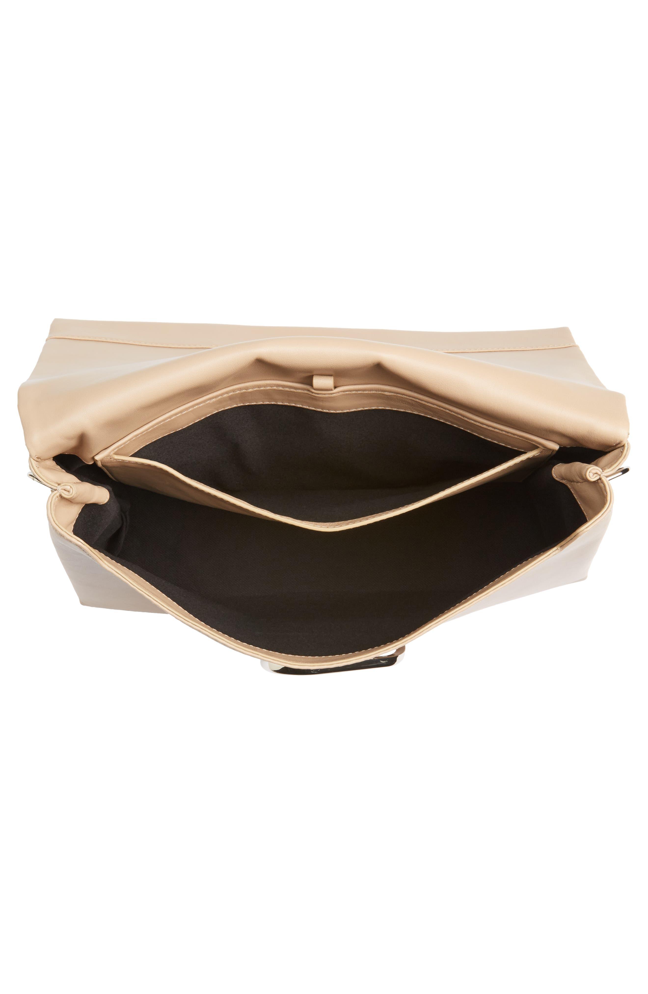 Oversized Alix Flap Leather Shoulder Bag,                             Alternate thumbnail 4, color,                             Fawn