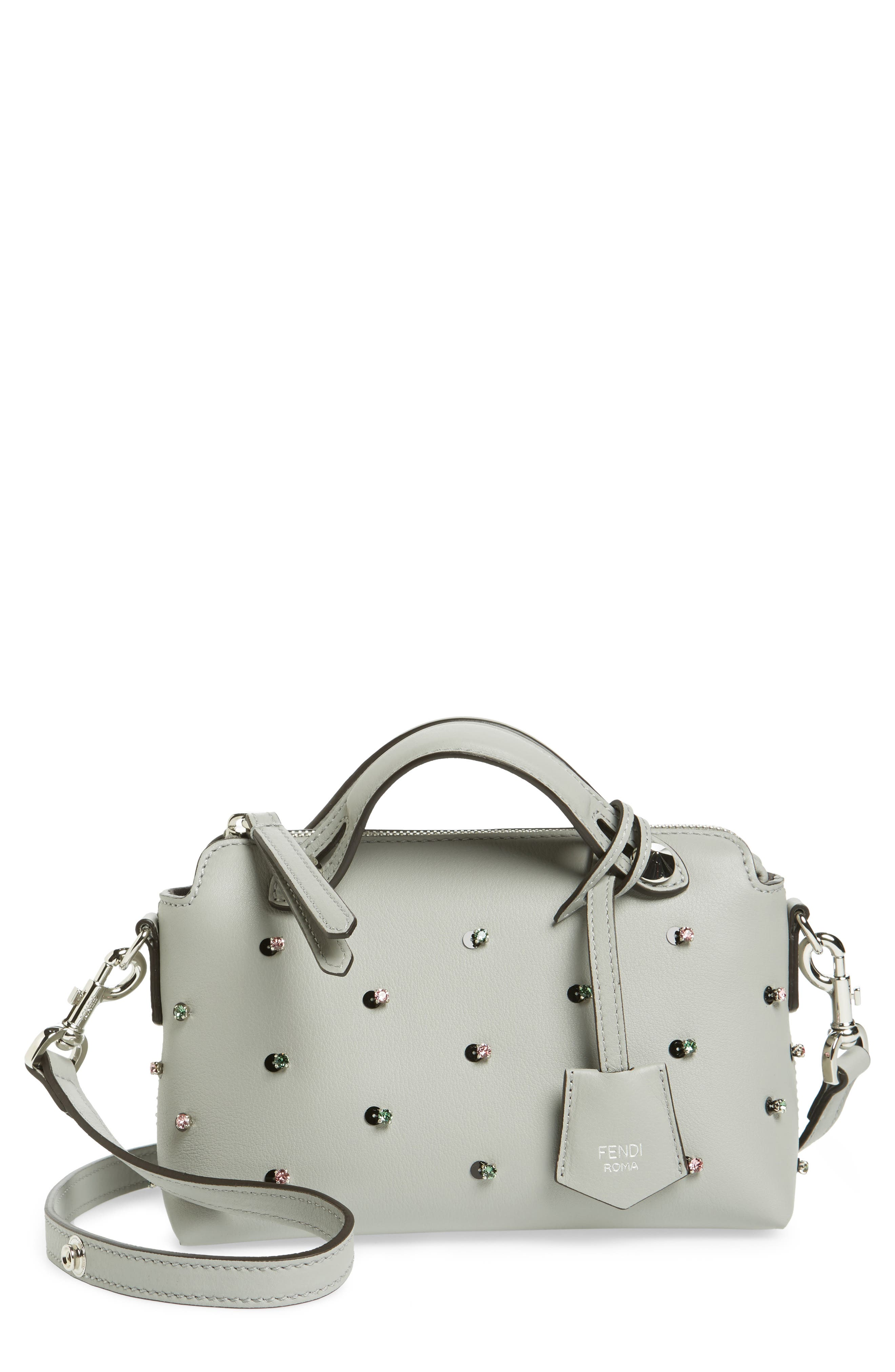 Main Image - Fendi Mini By the Way Crystal Embellished Convertible Leather Crossbody Bag