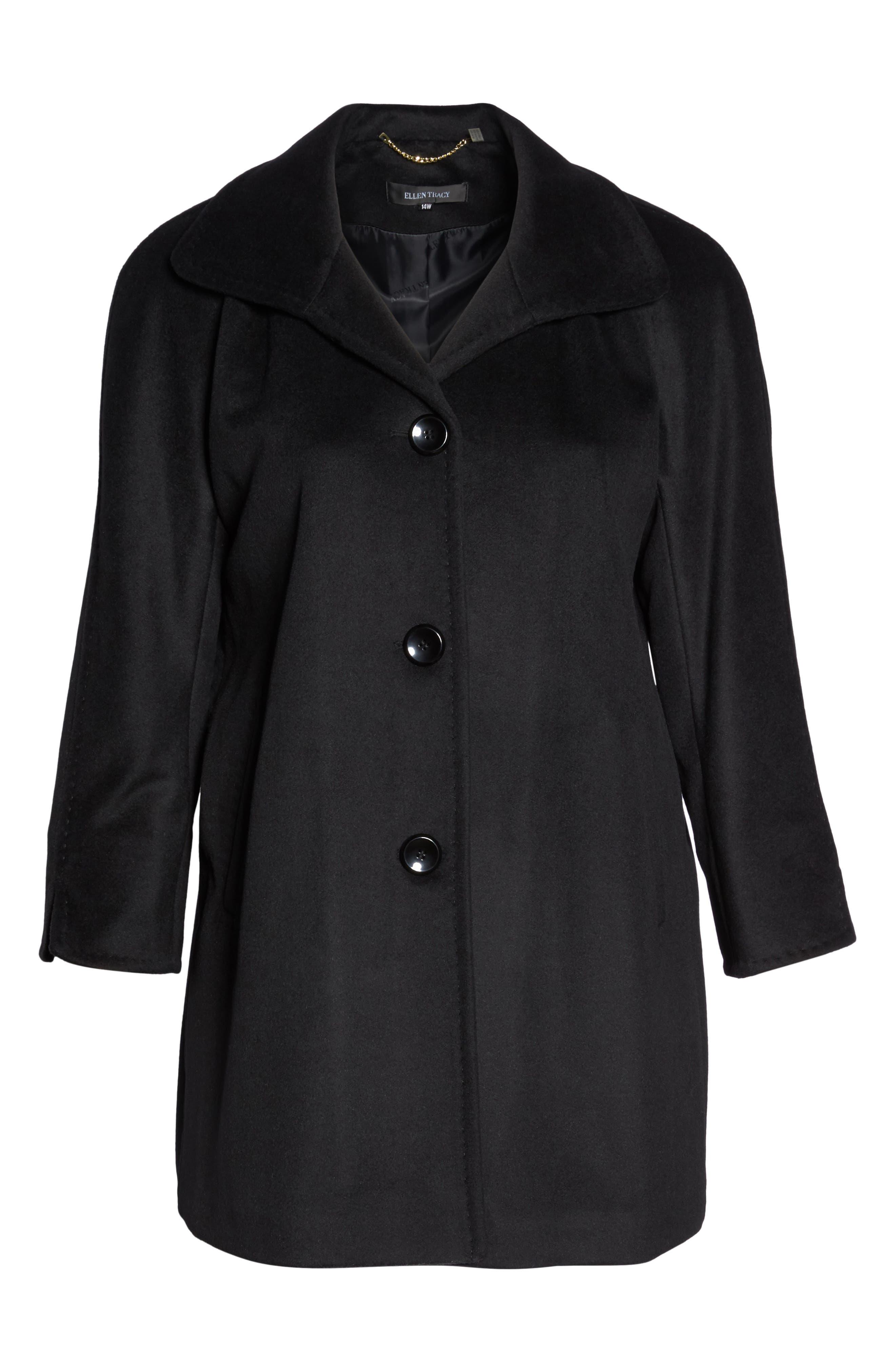 Kimono Wool Blend Coat,                             Alternate thumbnail 6, color,                             Black