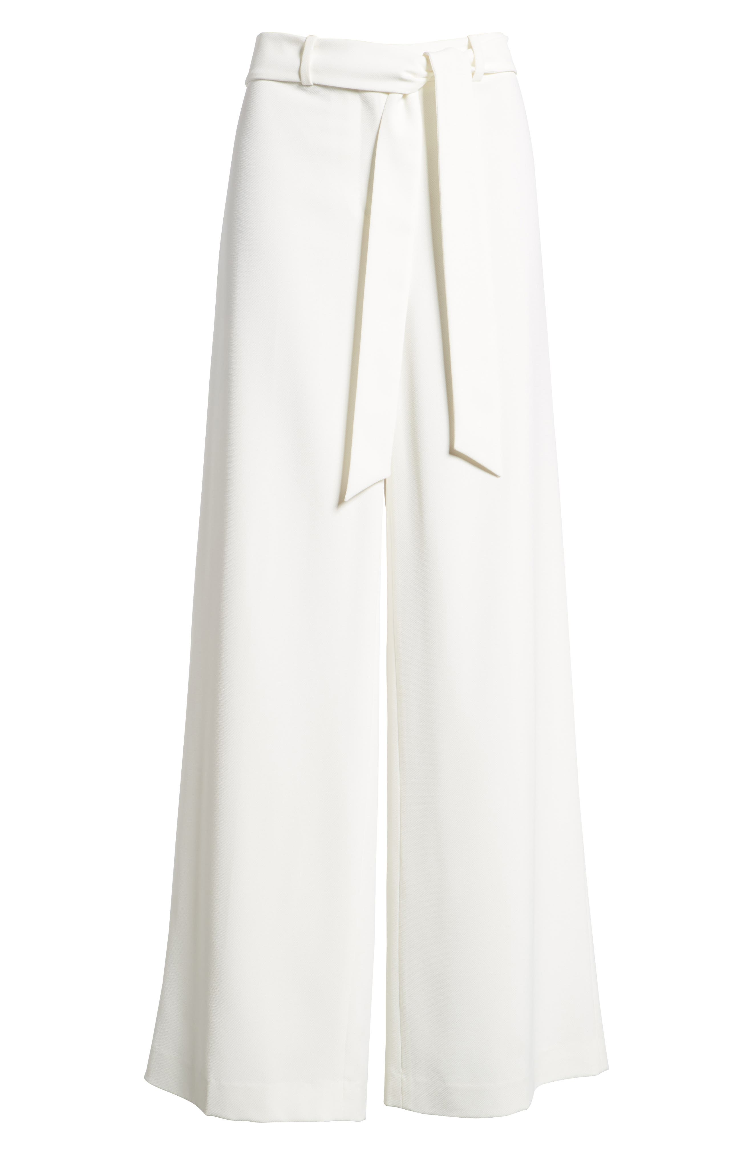 Tie Front Wide Leg Pants,                             Alternate thumbnail 7, color,                             New Ivory