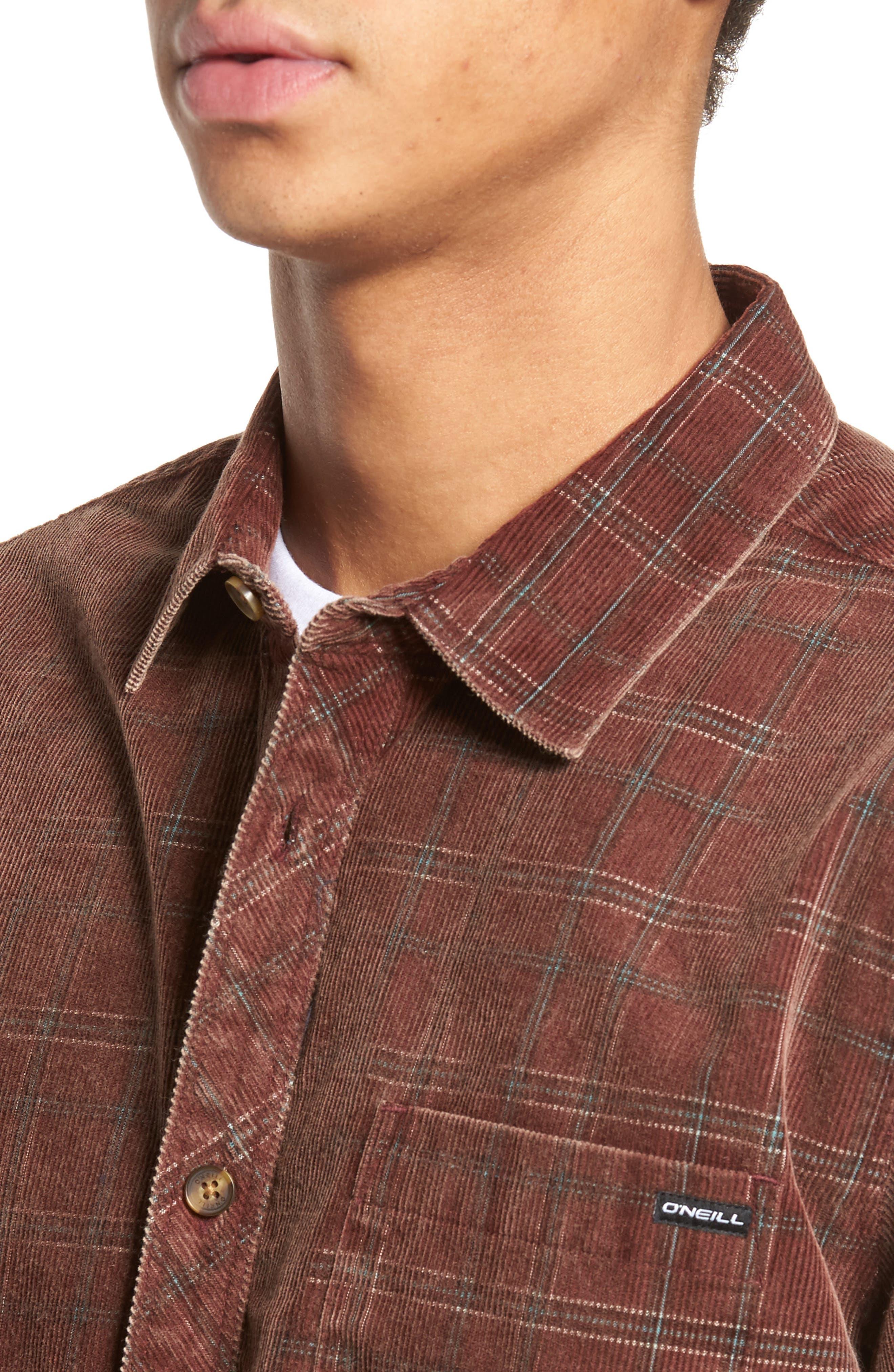 Bradley Corduroy Shirt,                             Alternate thumbnail 4, color,                             Burgundy
