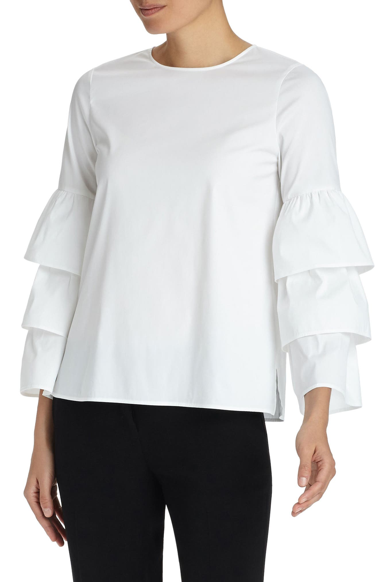 Revina Stretch Cotton Blend Blouse,                             Alternate thumbnail 5, color,                             White