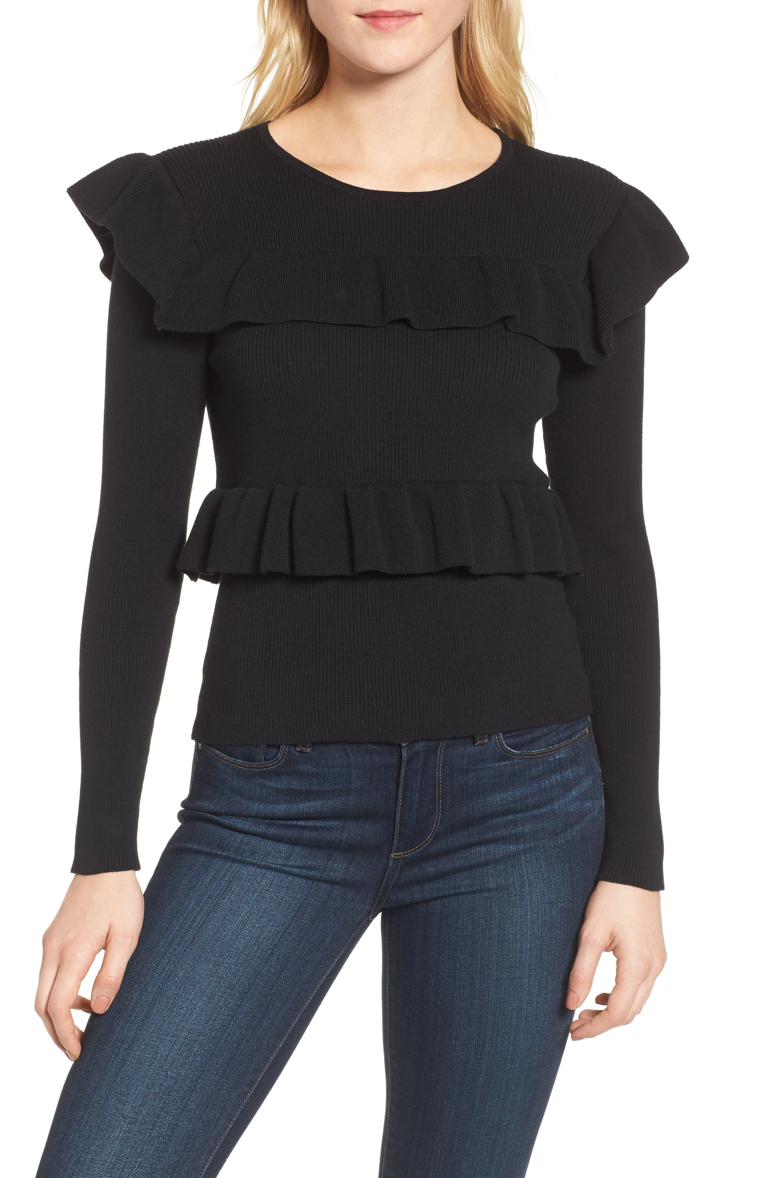Bailey Ruffle Sweater,                         Main,                         color, Black