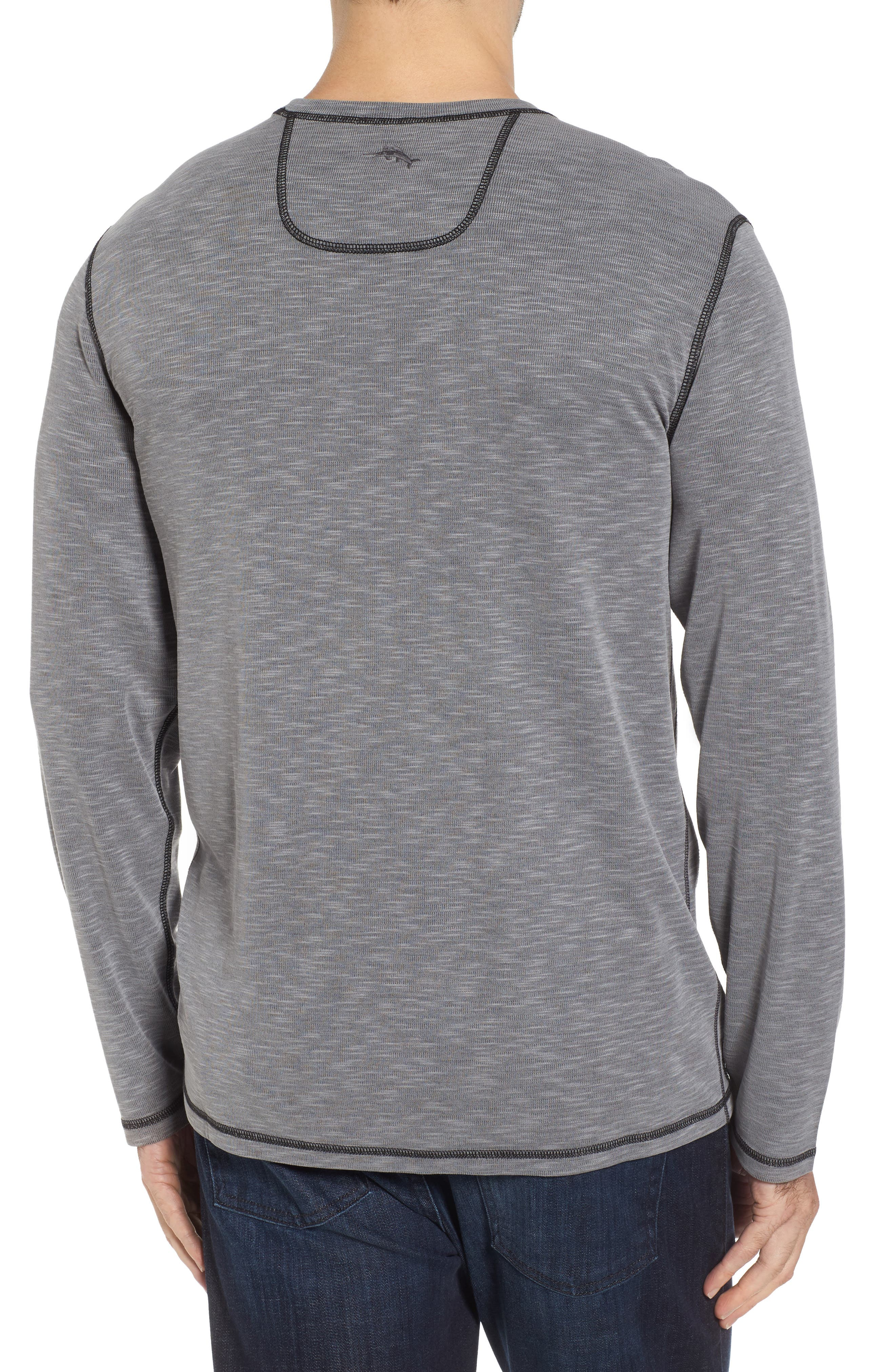 Flip Tide Long Sleeve T-Shirt,                             Alternate thumbnail 3, color,                             Coal