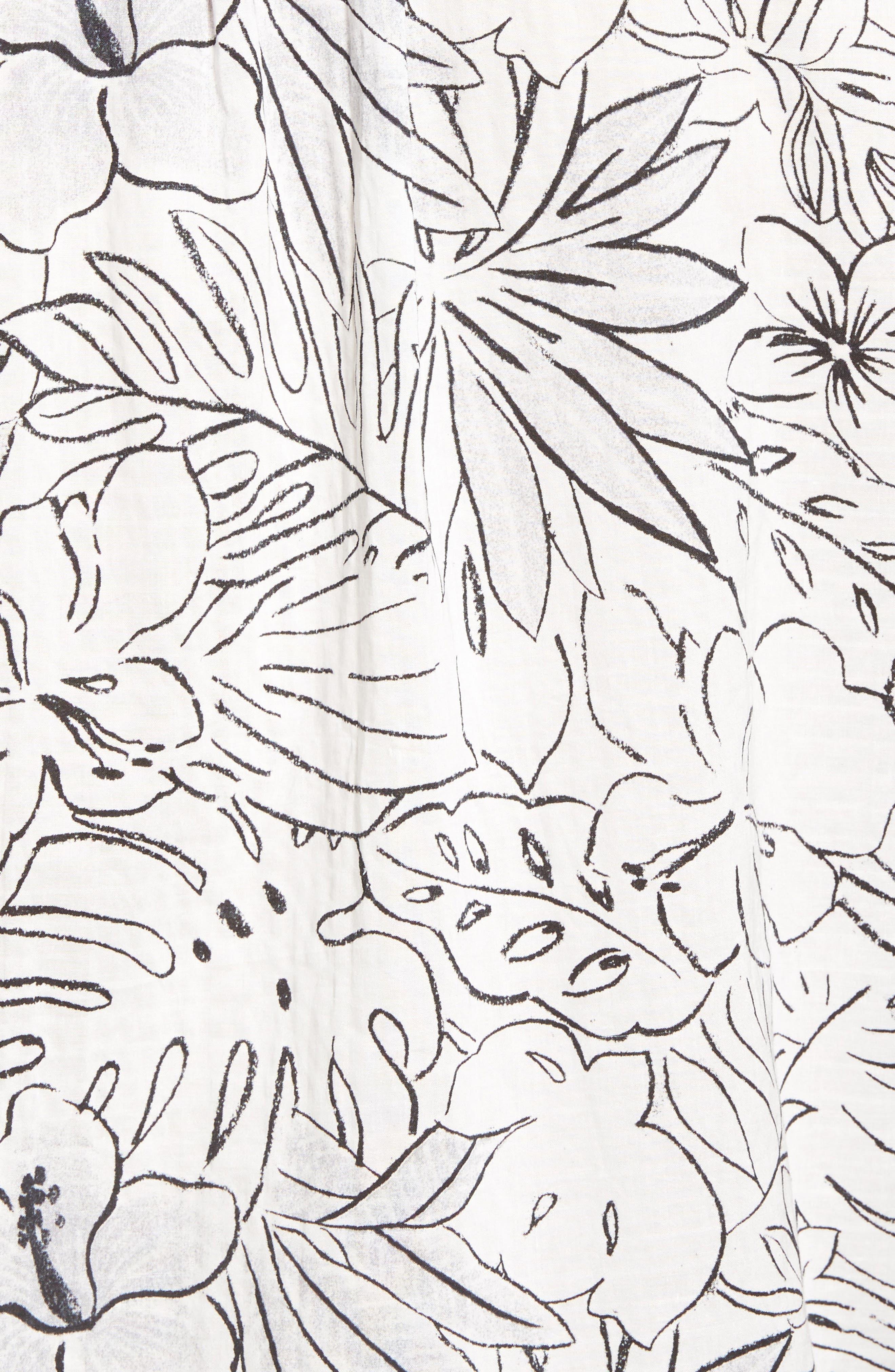 Sarasota Sketch Print Camp Shirt,                             Alternate thumbnail 5, color,                             White