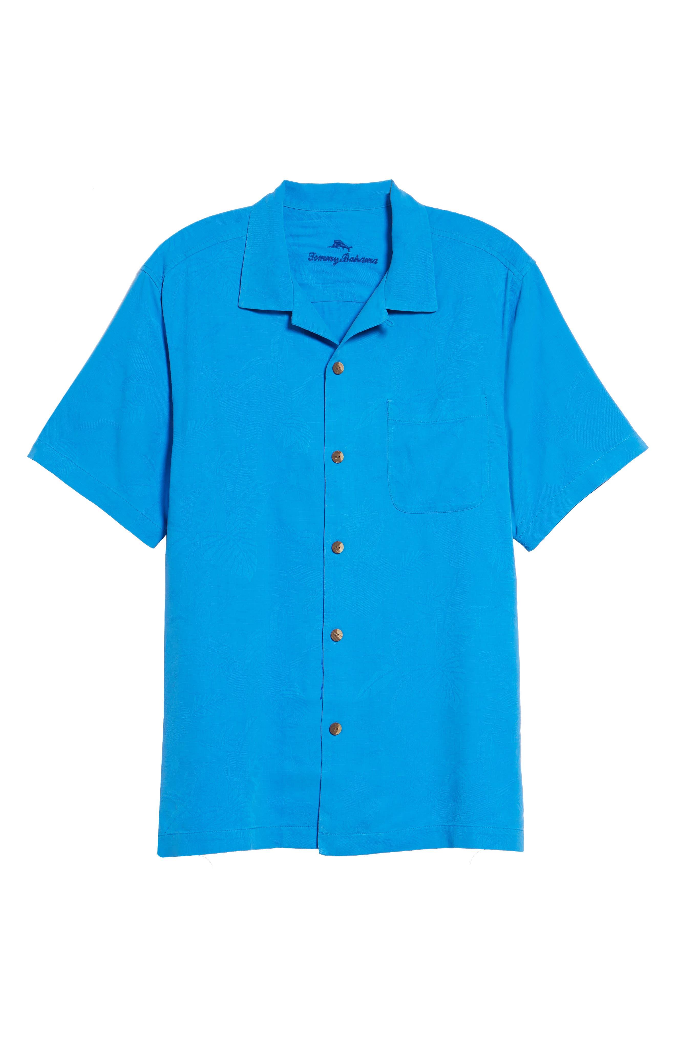 St Lucia Fronds Silk Camp Shirt,                             Alternate thumbnail 5, color,                             Santorini Blue