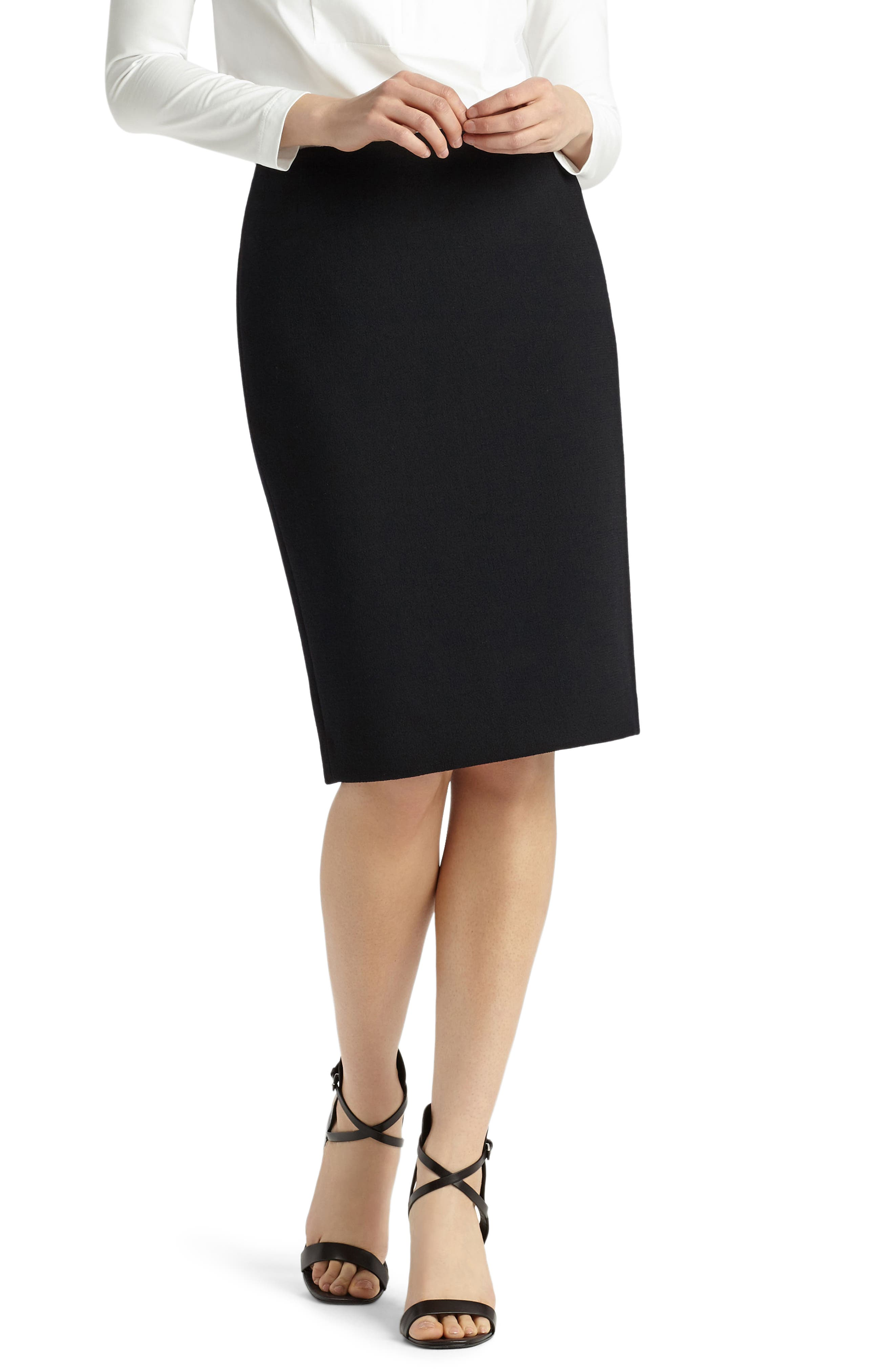 Pencil Skirt with Back Vent,                         Main,                         color, Black
