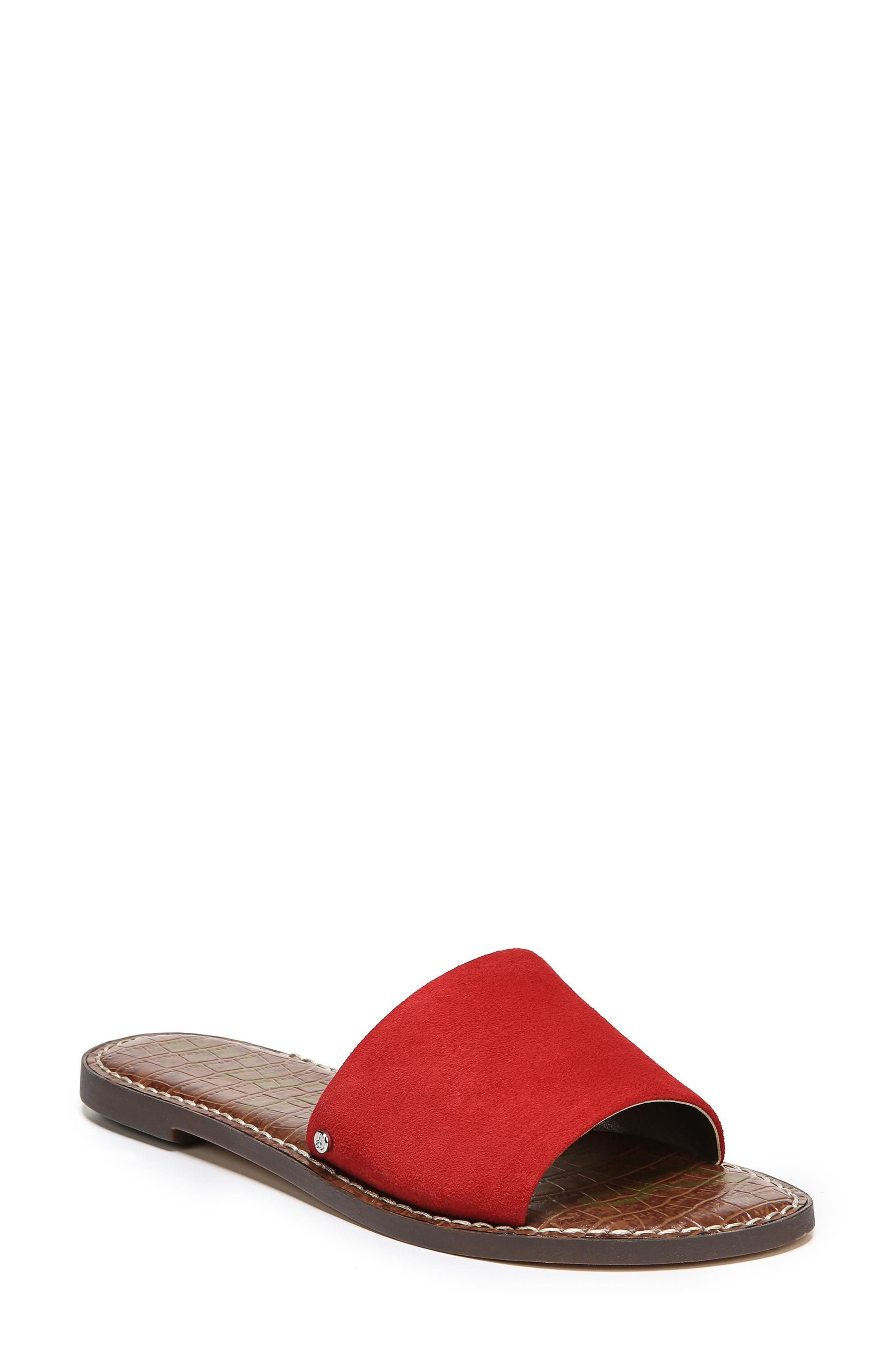 Gio Slide Sandal,                             Main thumbnail 1, color,                             Red Suede