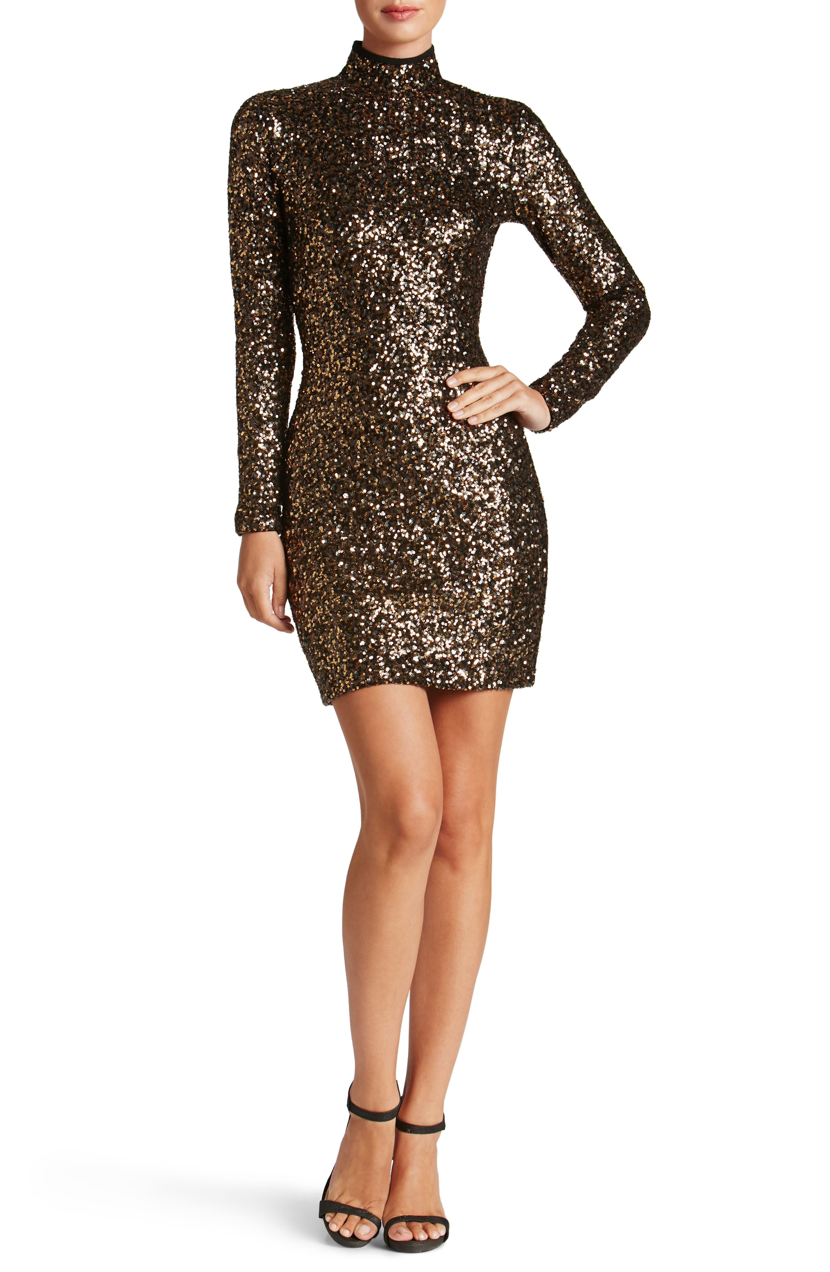 Main Image - Dress the Population Janis Sequin Body-Con Dress