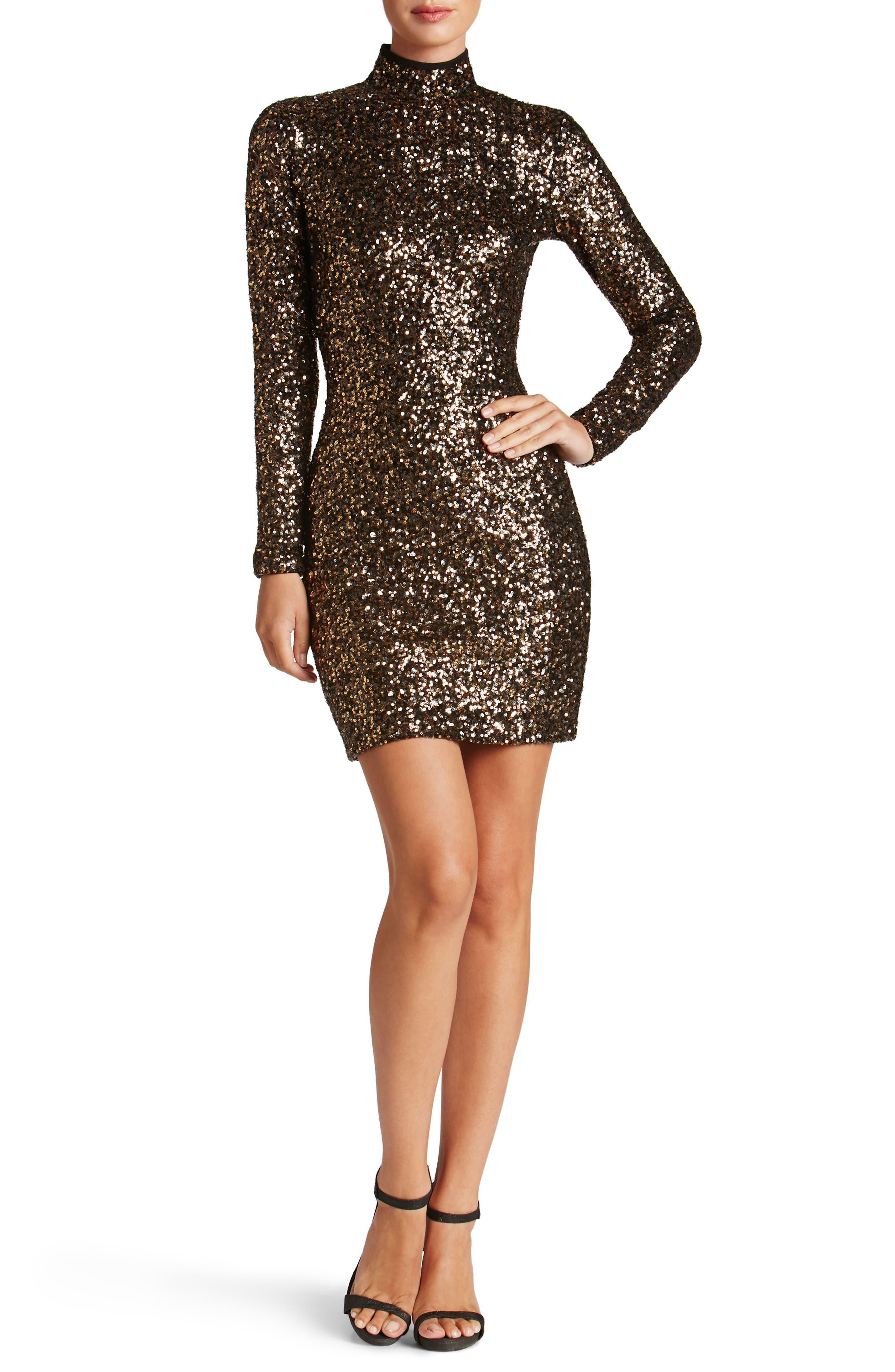 Janis Sequin Body-Con Dress,                         Main,                         color, Antique Gold