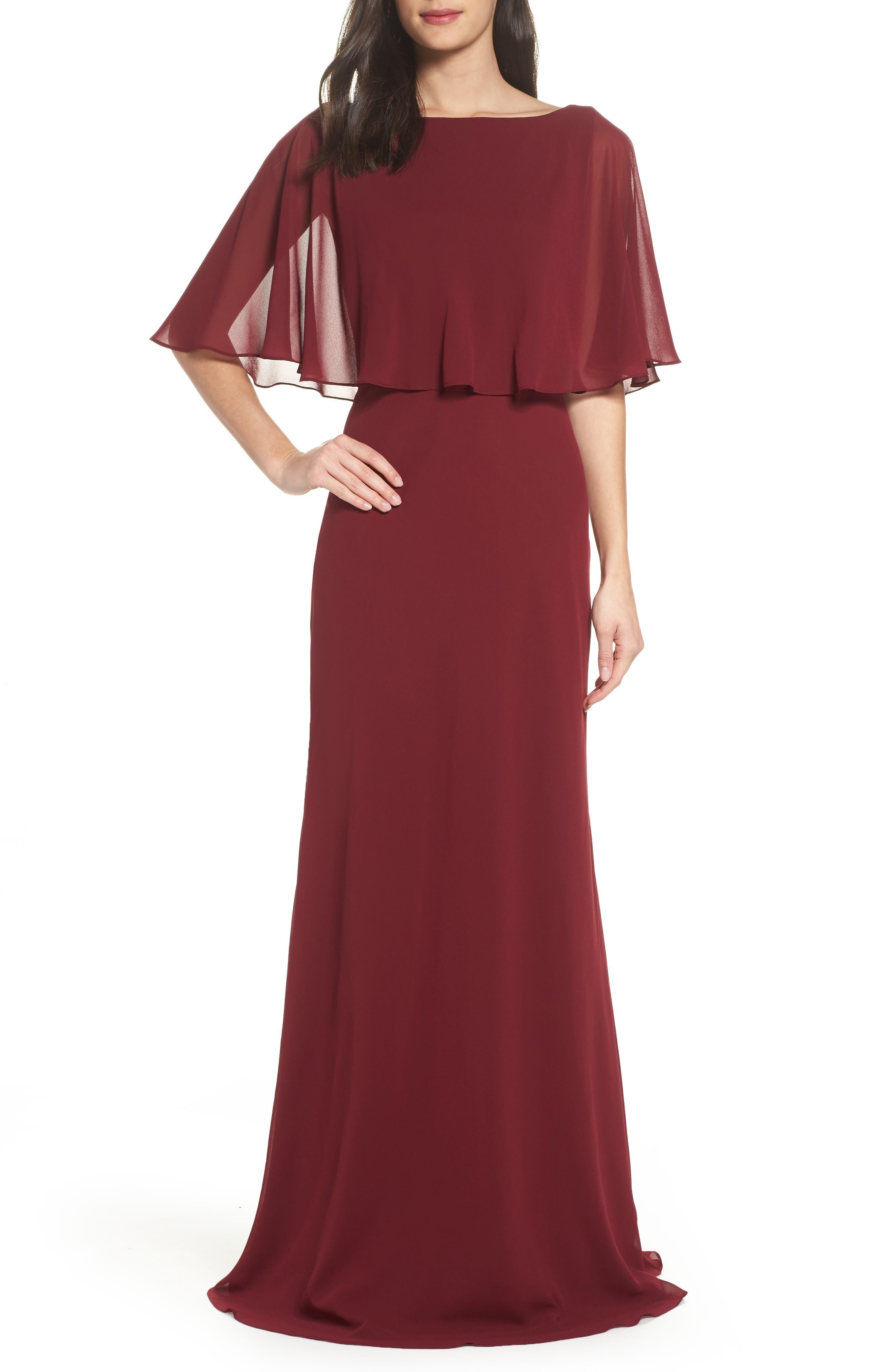 Main Image - La Femme Popover Chiffon Gown