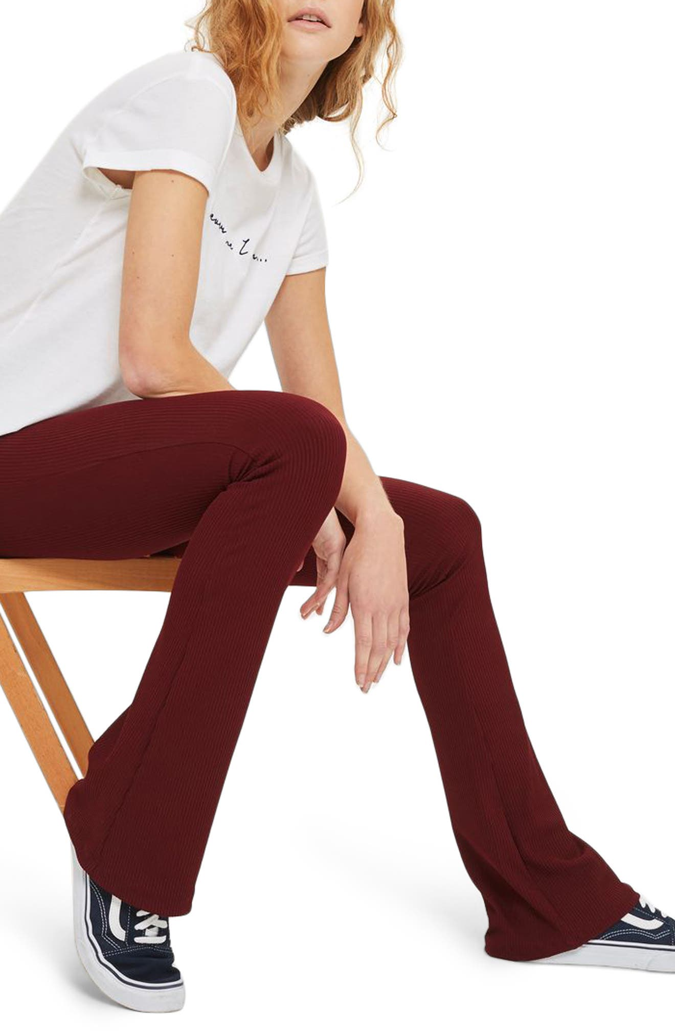 Ribbed Flare Pants,                         Main,                         color, Burgundy