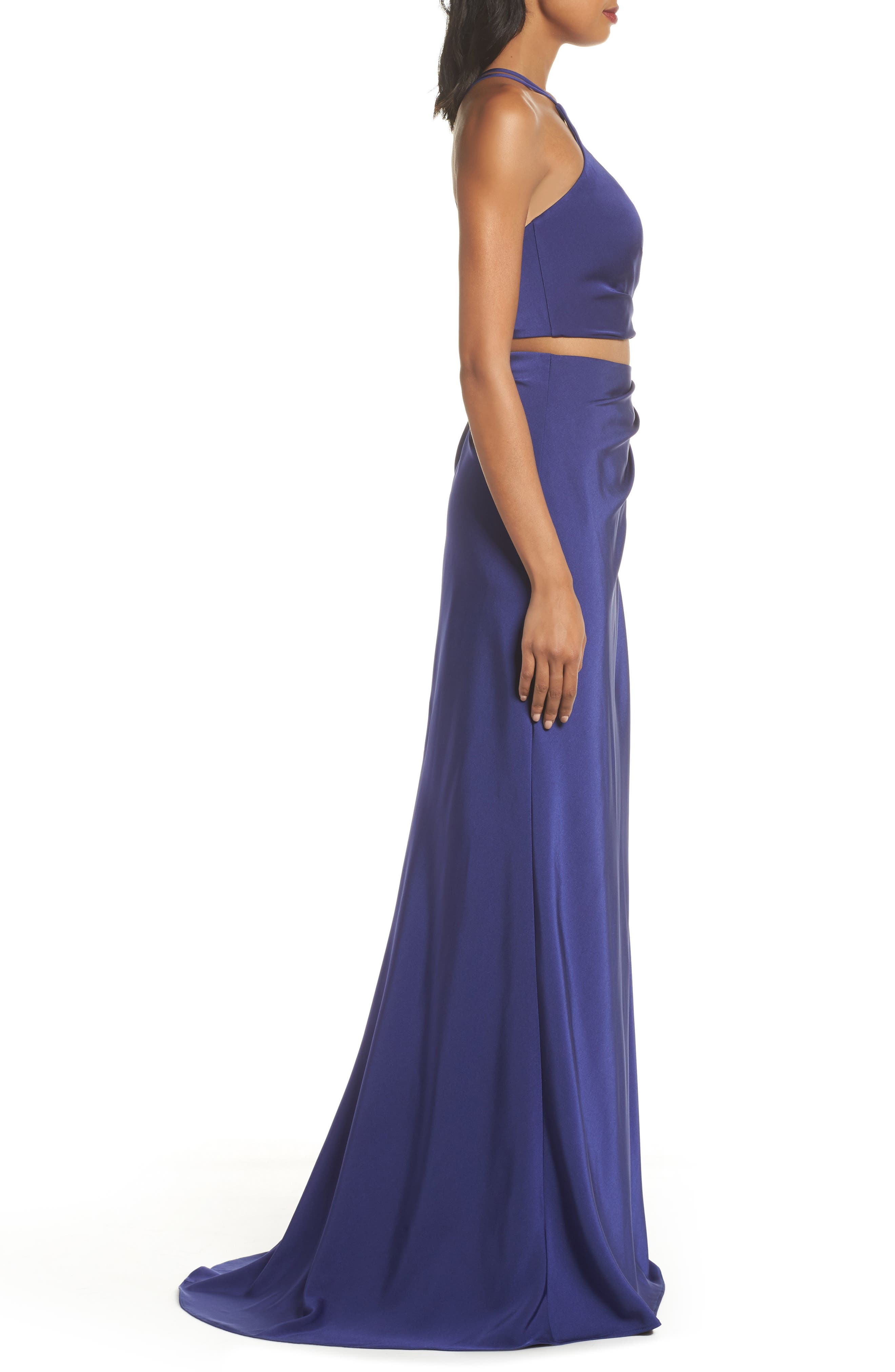 Strappy Two-Piece Sheath Gown,                             Alternate thumbnail 3, color,                             Dark Periwinkle
