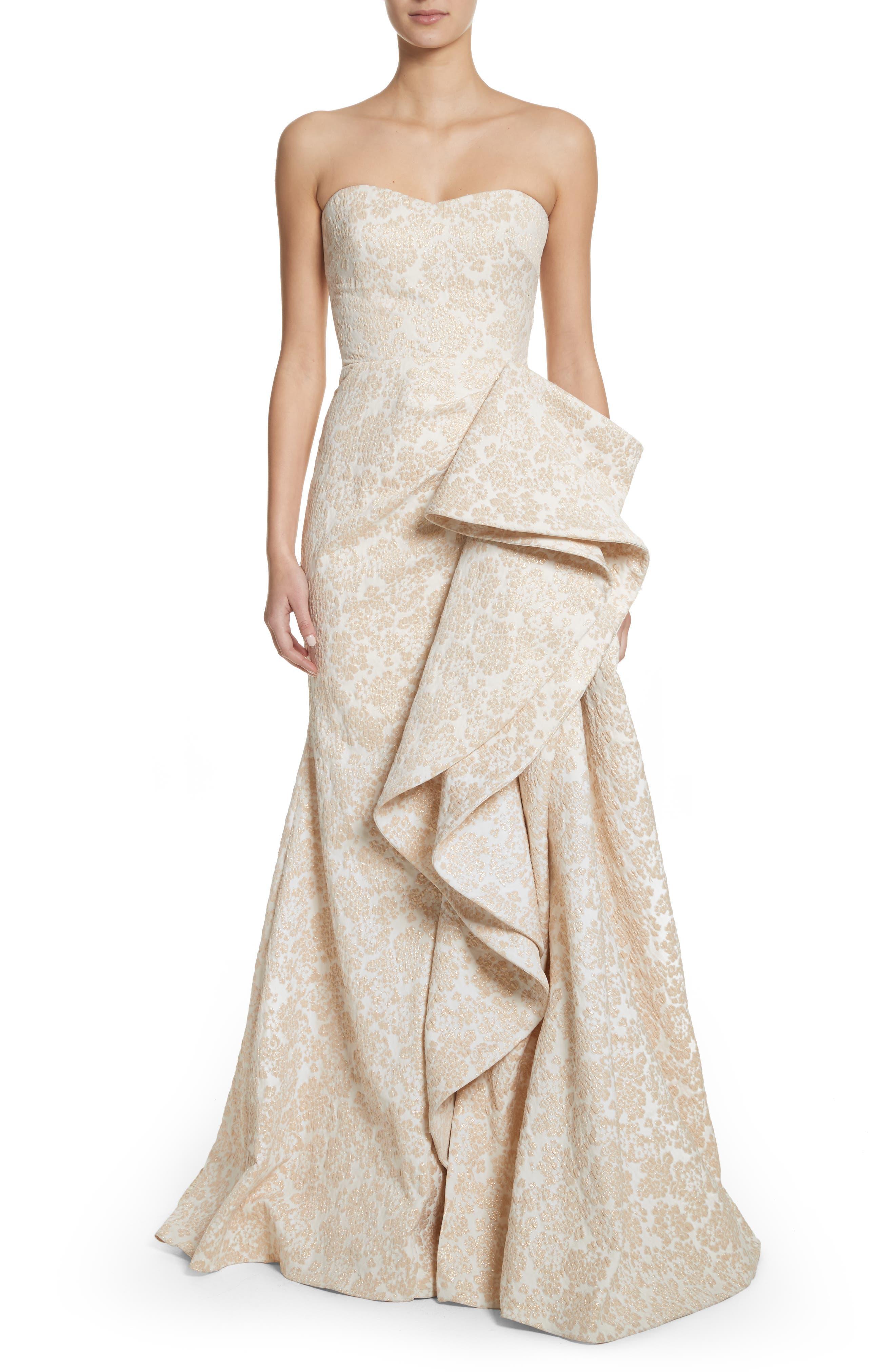 Main Image - Badgley Mischka Platinum Sculptural Ruffle Gown